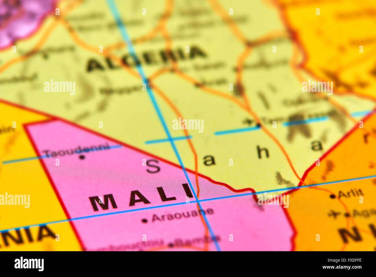 Mali-Land in Afrika auf der Weltkarte Stockbild