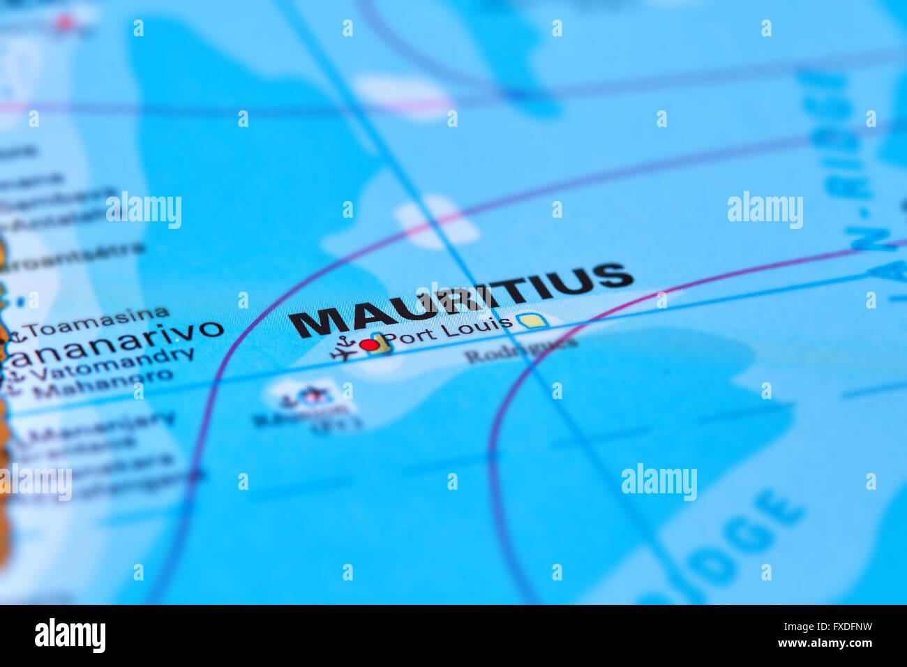 Die Insel Mauritius Im Indischen Ozean Auf Der Weltkarte Stockfoto