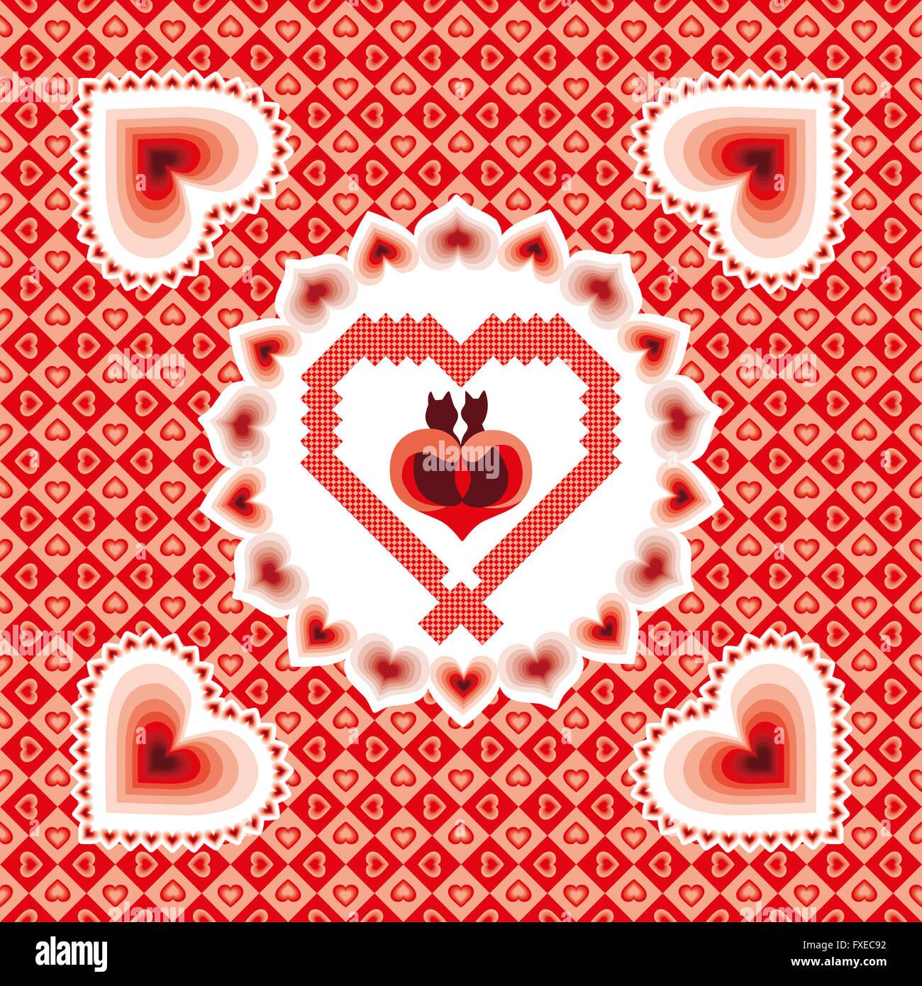 Schwarze Katzen in der Liebe - Valentine-Karte mit Rahmen Stockfoto ...