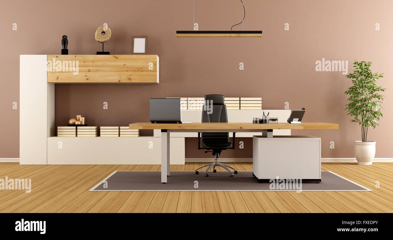 Moderne Büros Mit Bücherregal Und Schreibtisch 3d Rendering