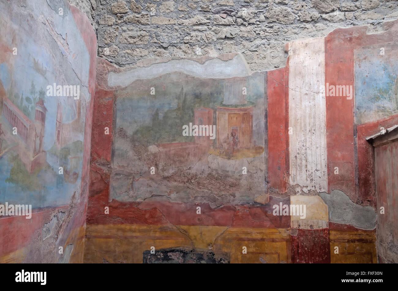 Bunte Wandbild Dekoration Elegante Villa In Archäologische Stätte Von  Pompeji Italien
