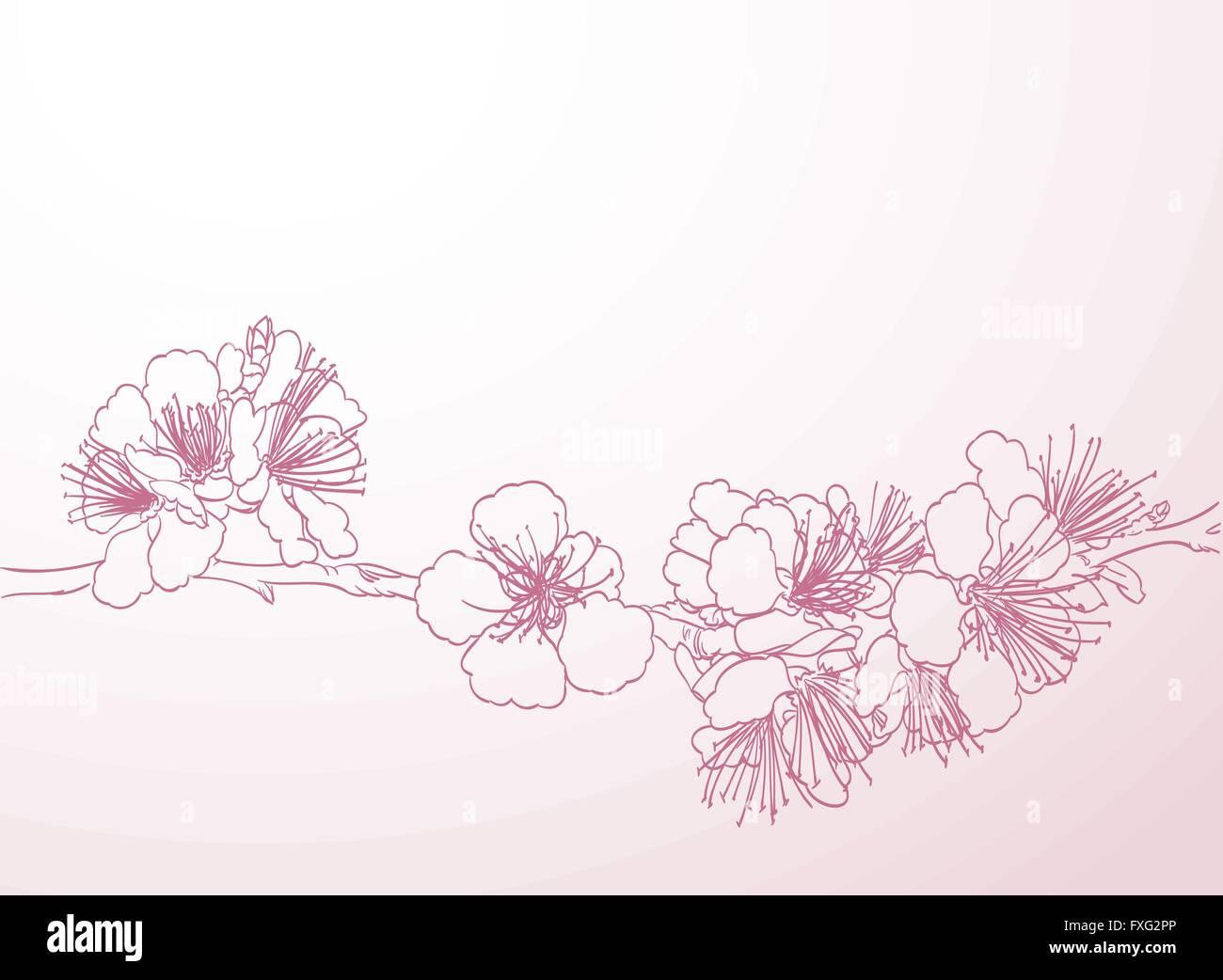 blühende Flora und Fauna Kunst Handzeichnung. Frühling stilvollen ...