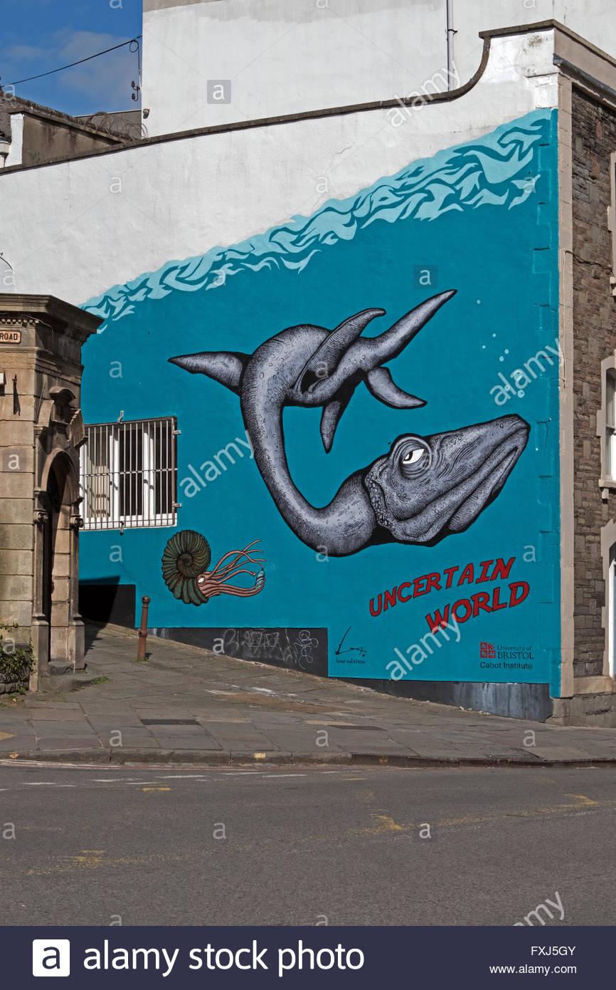 """Uncertain World"", ein Wandgemälde von Alex Lucas in Bristol, England. Stockbild"