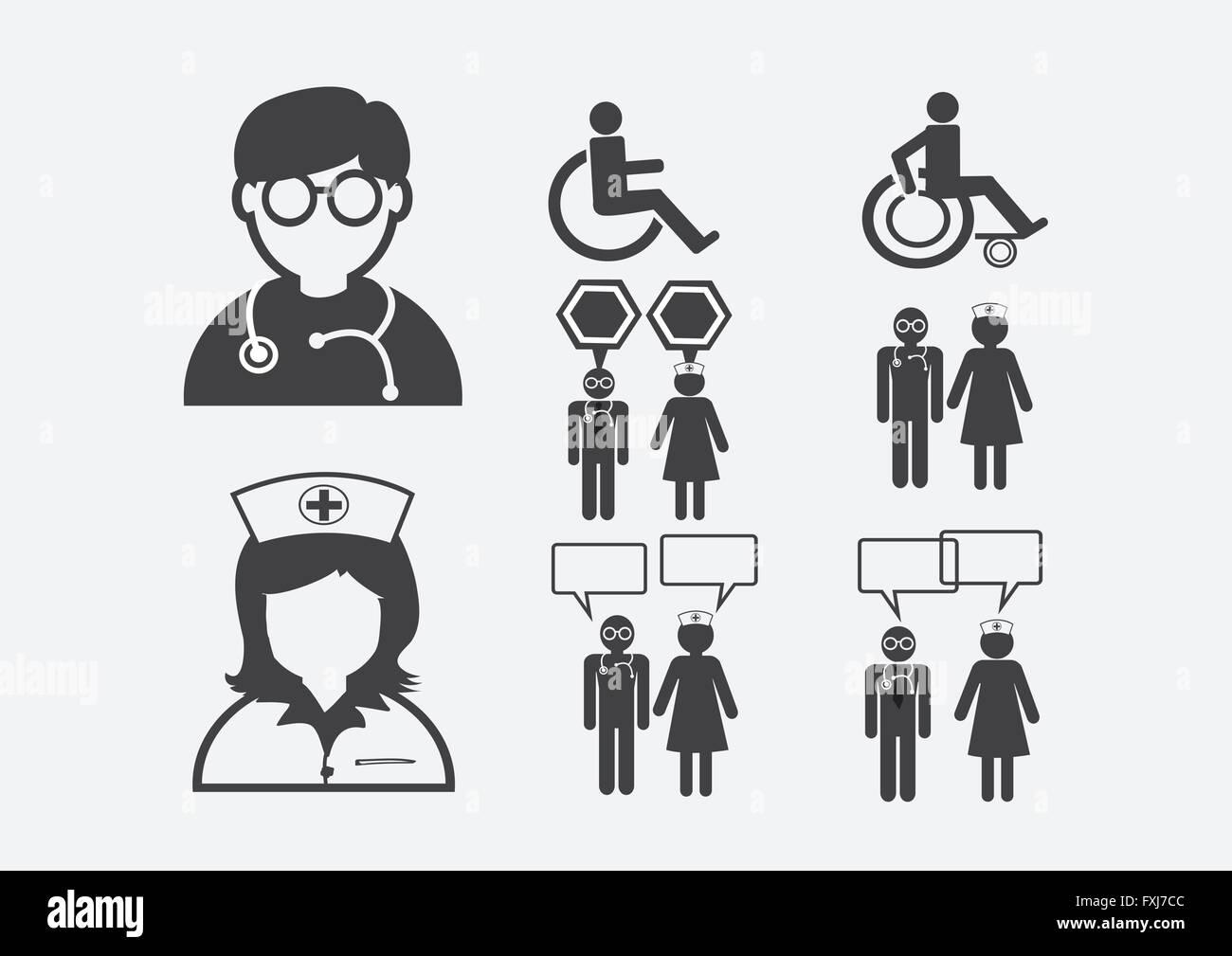 Arzt Krankenschwester Patient Krank Symbol Zeichen Piktogramm Wiring Diagram