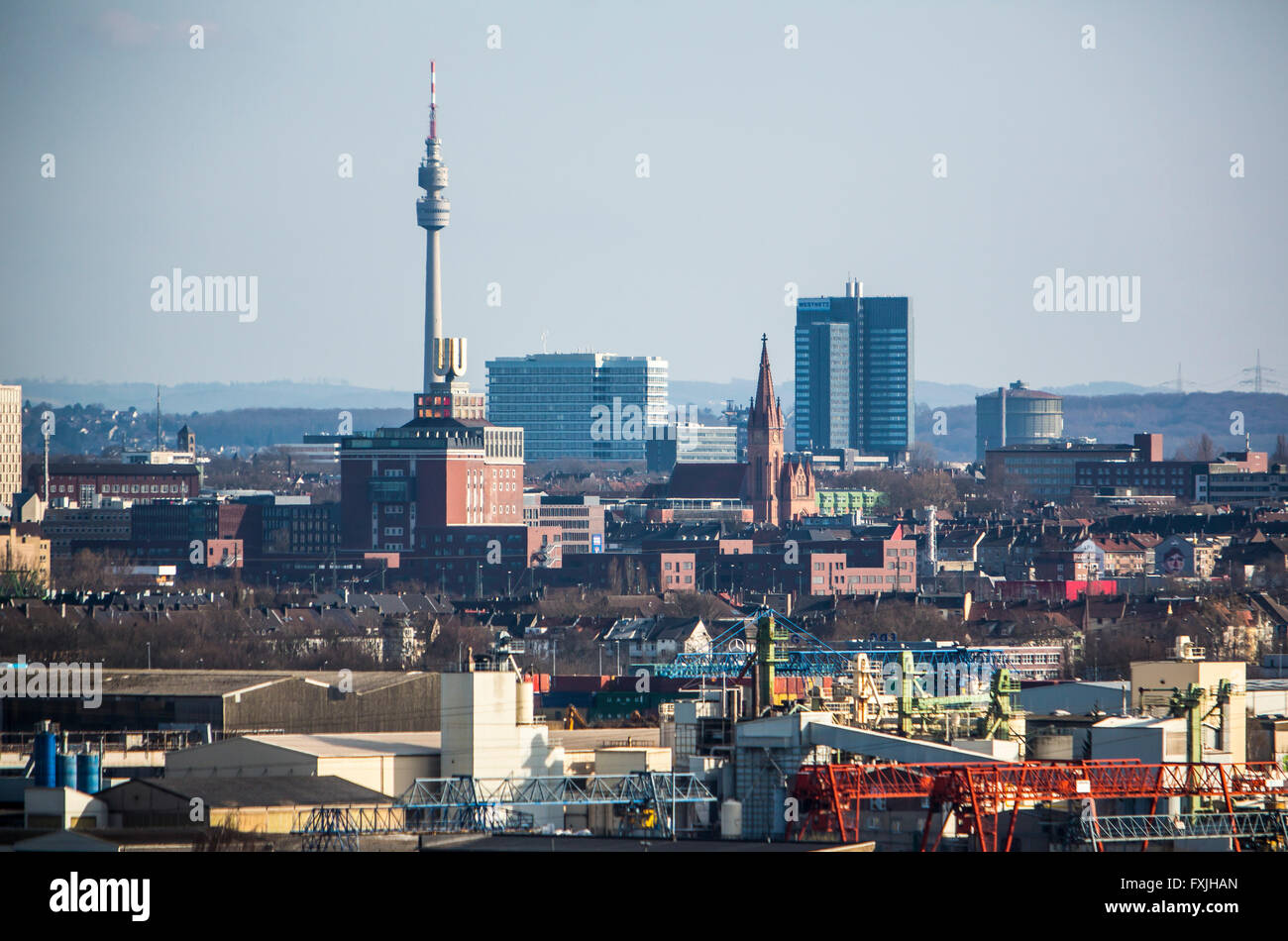 panorama city dortmund stadt tv tower florian dortmunder u d stockfoto bild 102441661 alamy. Black Bedroom Furniture Sets. Home Design Ideas