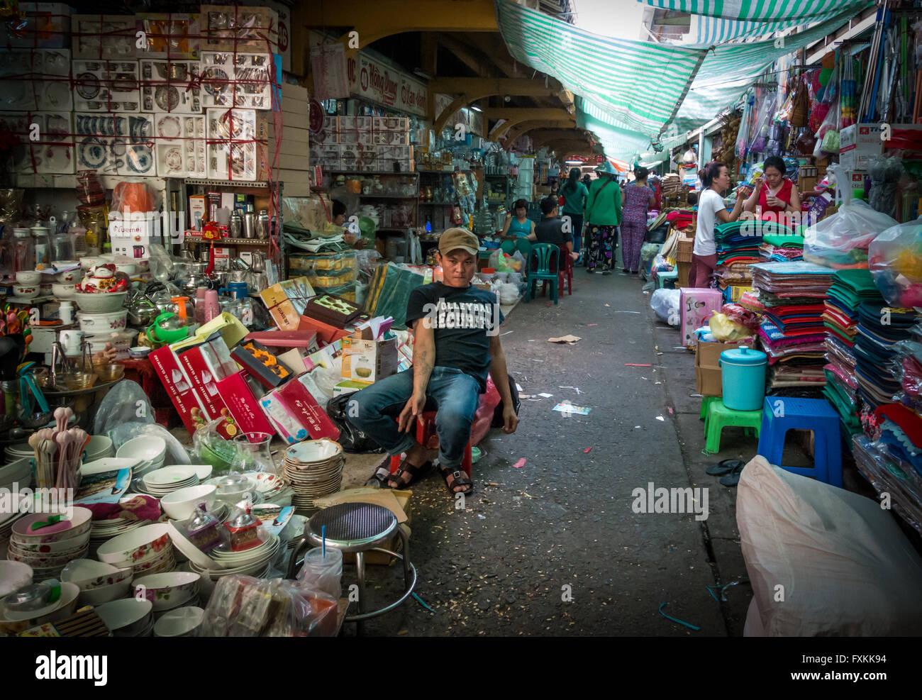 Innen Binh Tay Markt, Ho-Chi-Minh-Stadt, Vietnam Stockbild
