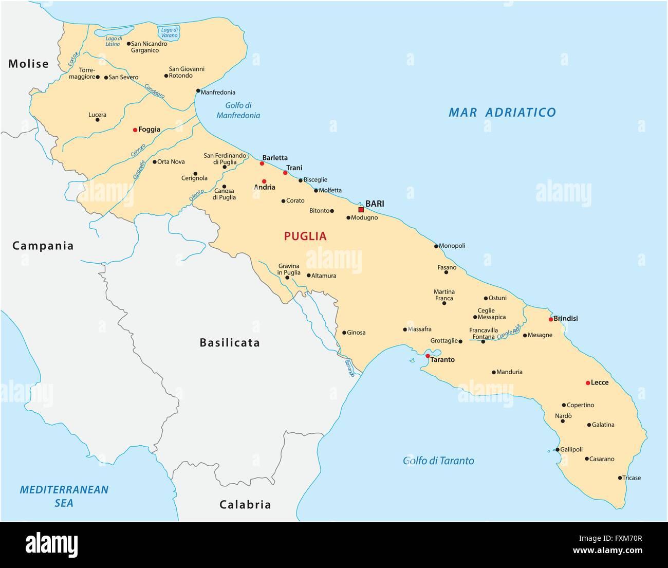 Karte Von Apulien Italien Vektor Abbildung Bild 102477447 Alamy