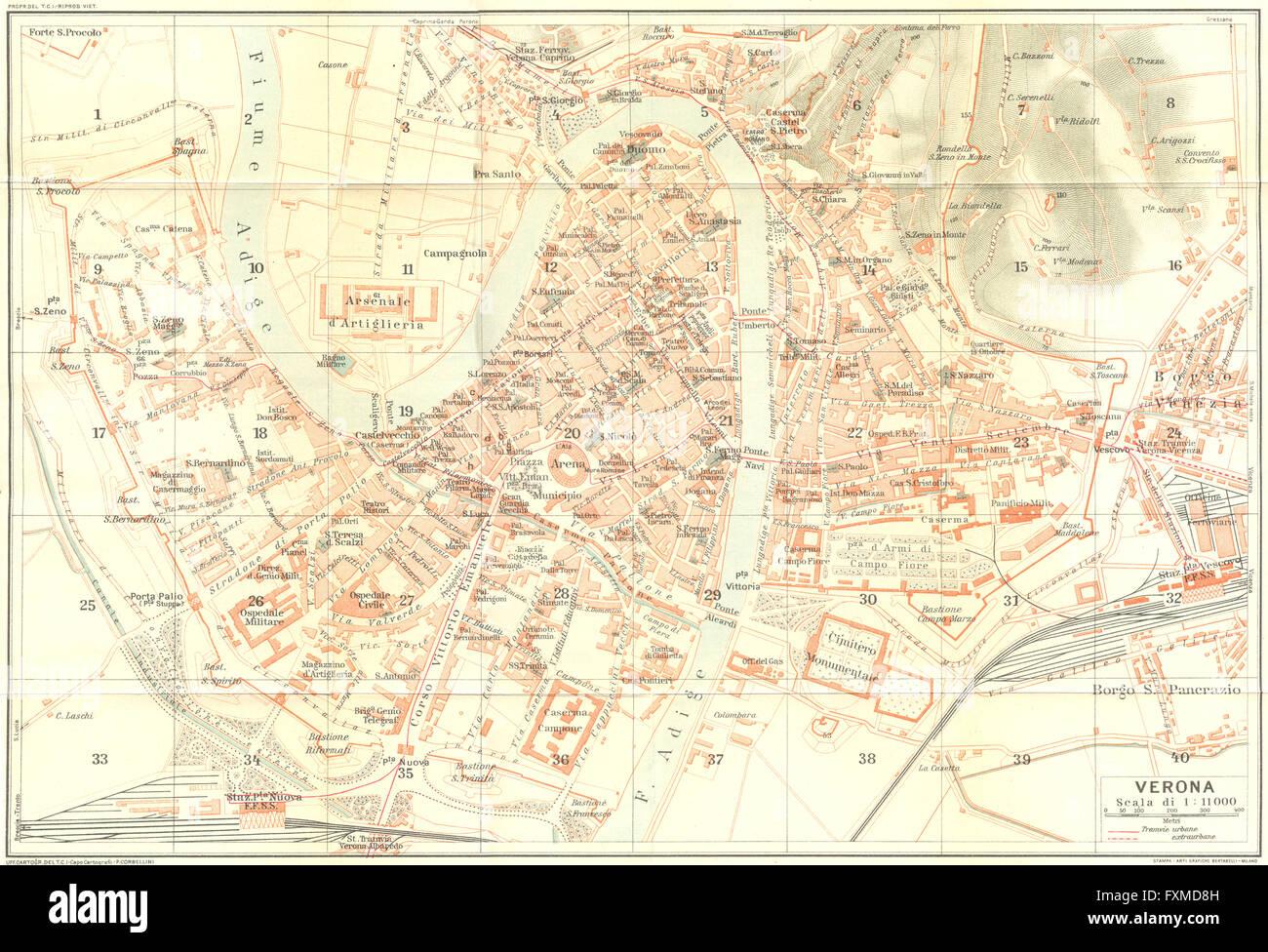 Verona Italien Karte.Verona Karte Stadtplan Vintage Stadt Italien 1927 Stockfoto Bild
