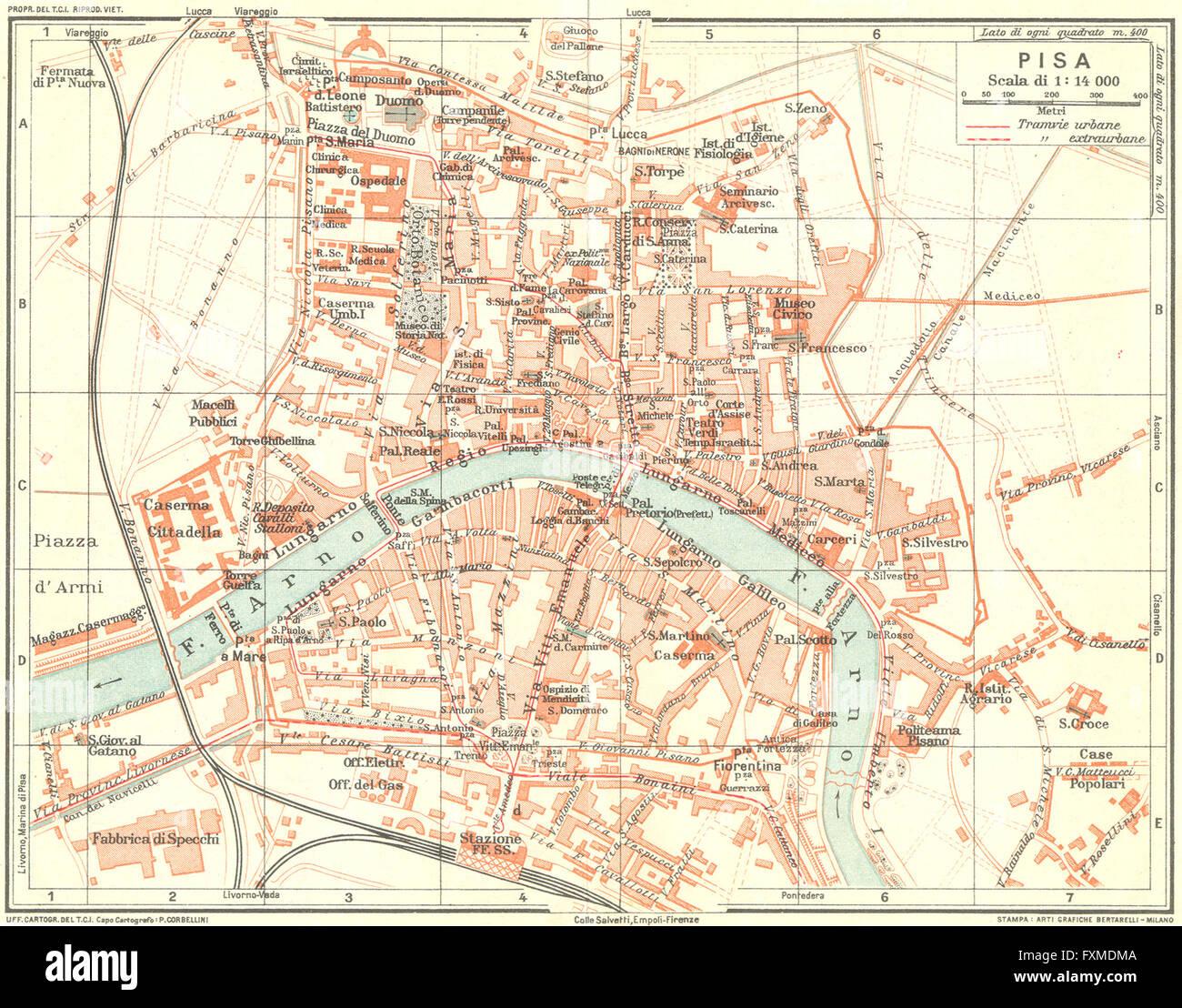 Pisa Karte.Pisa Karte Stadtplan Vintage Stadt Italien 1927 Stockfoto Bild