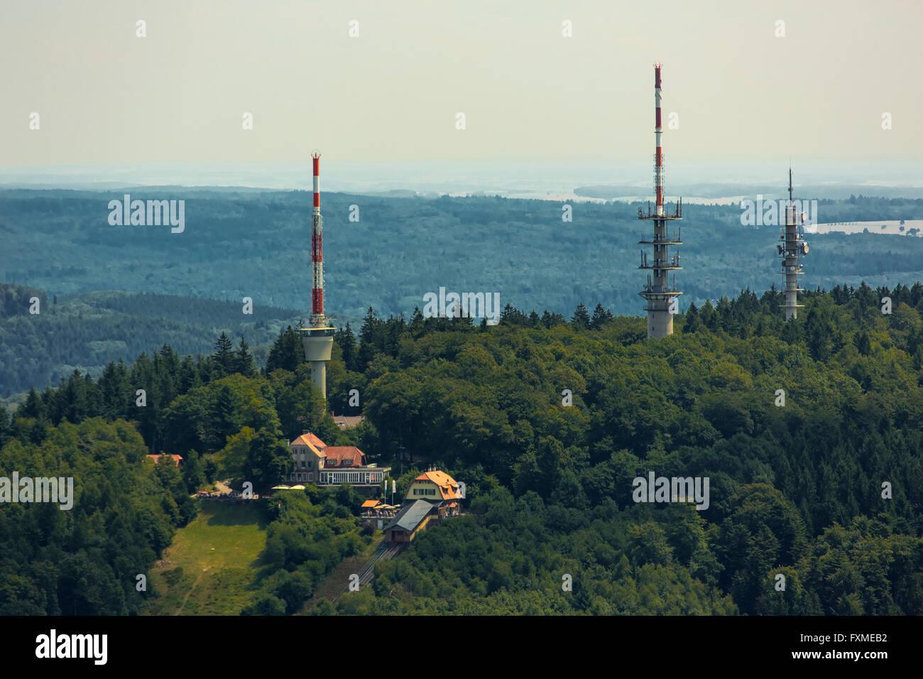 Luftbild, TV-Antennen, Konverter, Fernsehturm über Heidelberg, Heidelberg, Rhein-Neckar-Kreis, Baden-Württemberg Stockbild