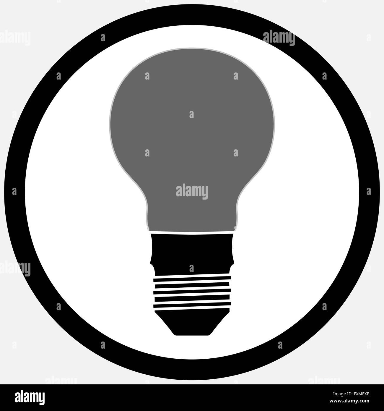 Idee-Lampe Lampe Symbol schwarz weiß. Idee und Glühbirne Lichtsymbol ...