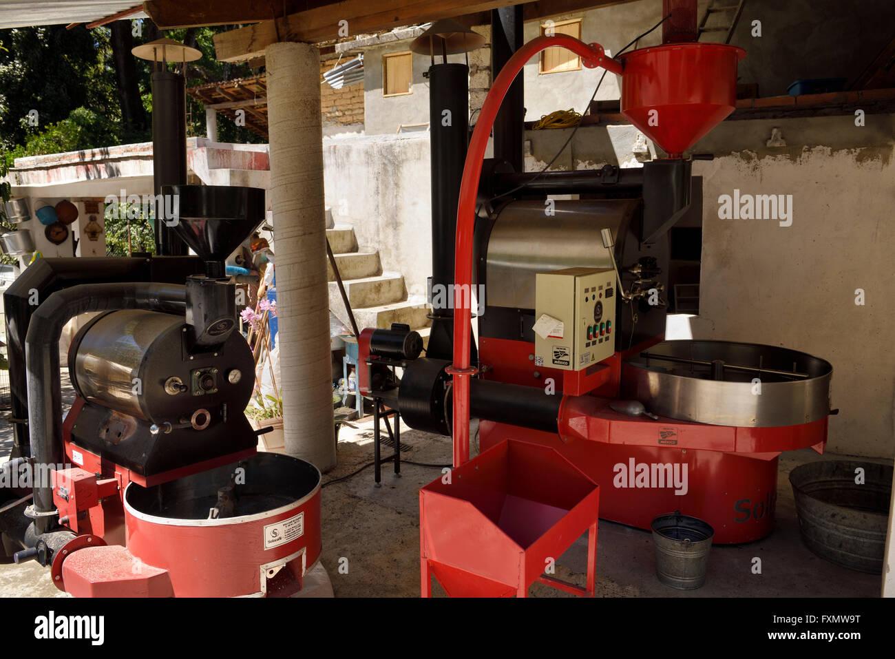 Kaffee Verarbeitungsausrüstung auf einer Plantage in Jalisco, Mexiko Stockbild