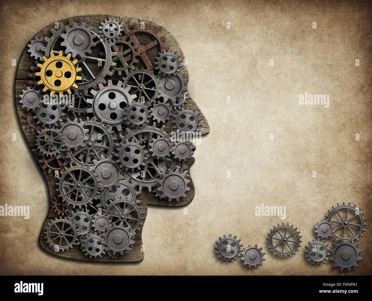 Gehirn-Getriebe und Zahnräder, Idee Konzept. Stockbild