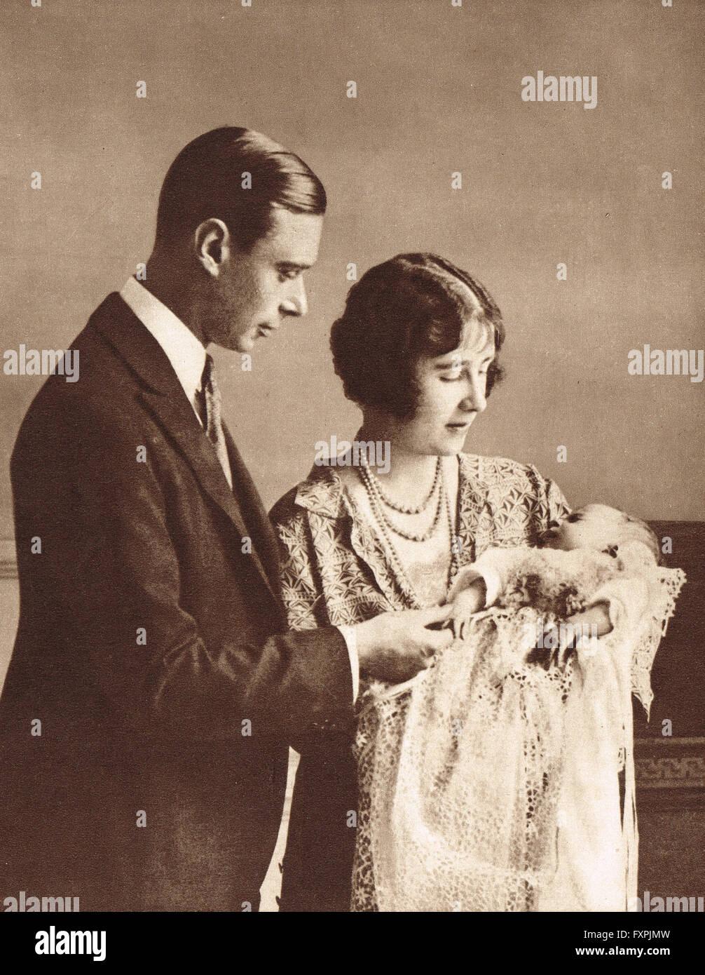 Prinzessin Elizabeth, die Zukunft Königin Elizabeth II als ein Baby.  Taufe von 1926 Stockbild