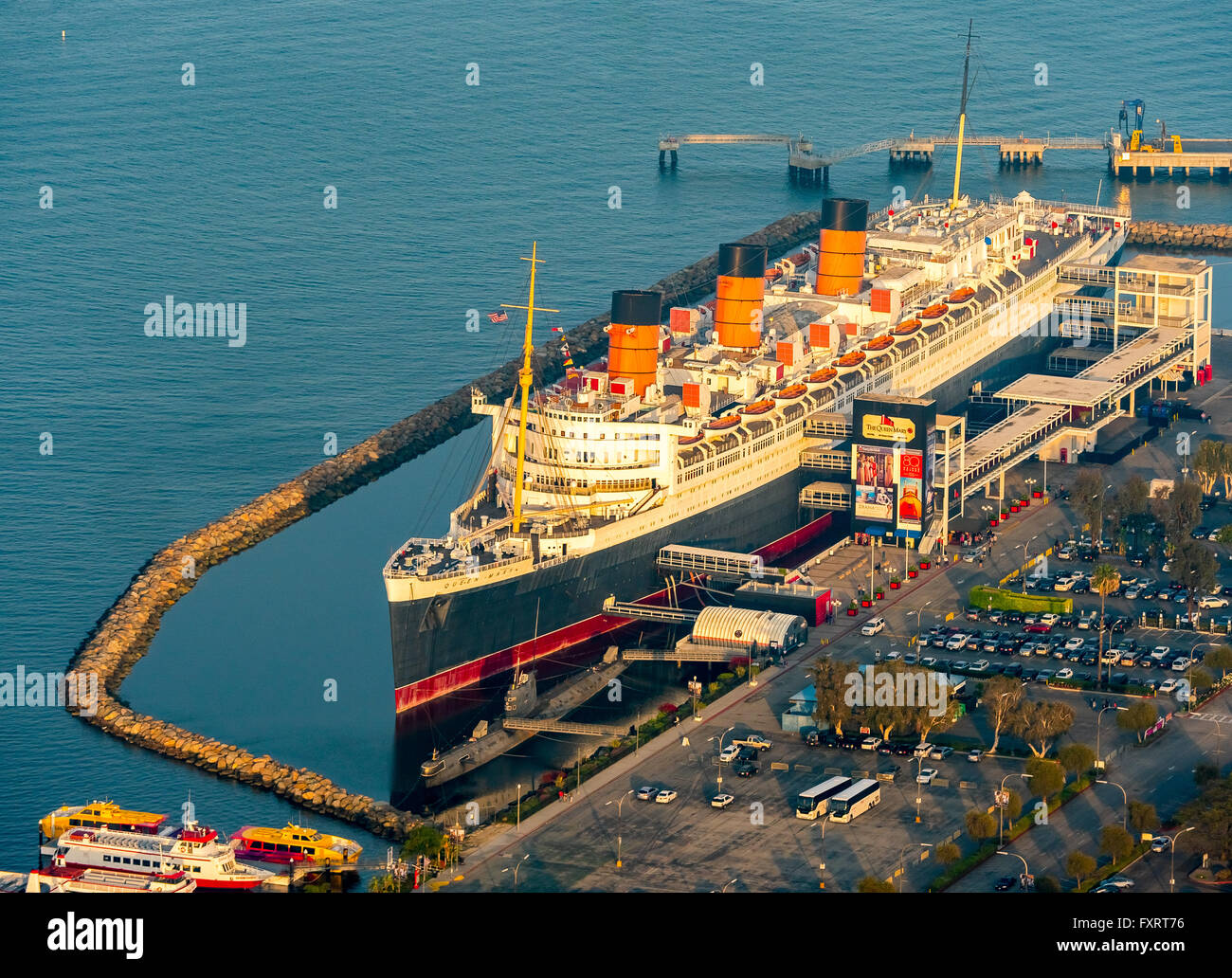Luftaufnahme Rms Queen Mary Ozeandampfer Queen Mary Hotel In Long