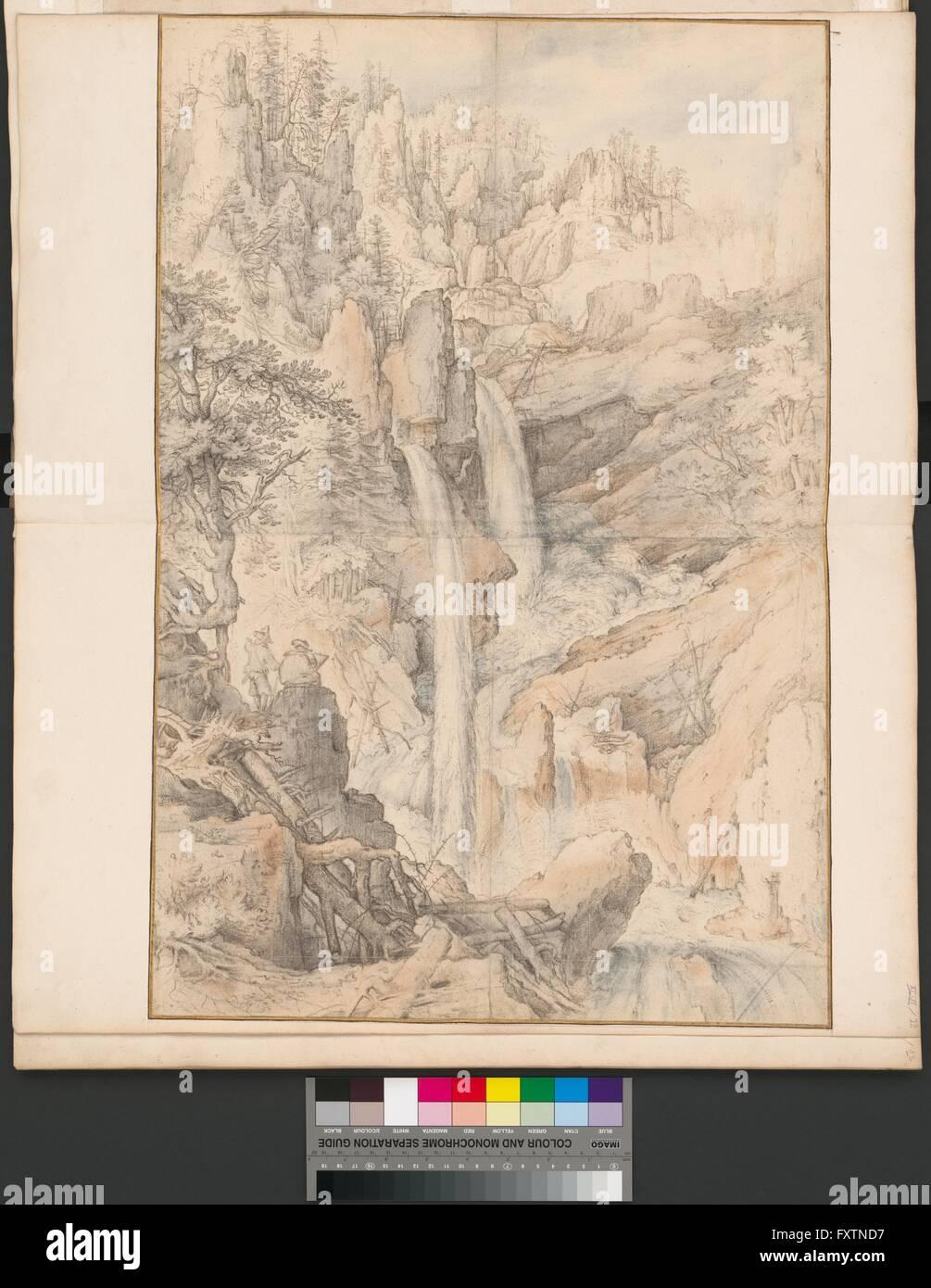 Ein Zeichner Und Sein Bergführer Betrachten Wasserfälle Stockbild