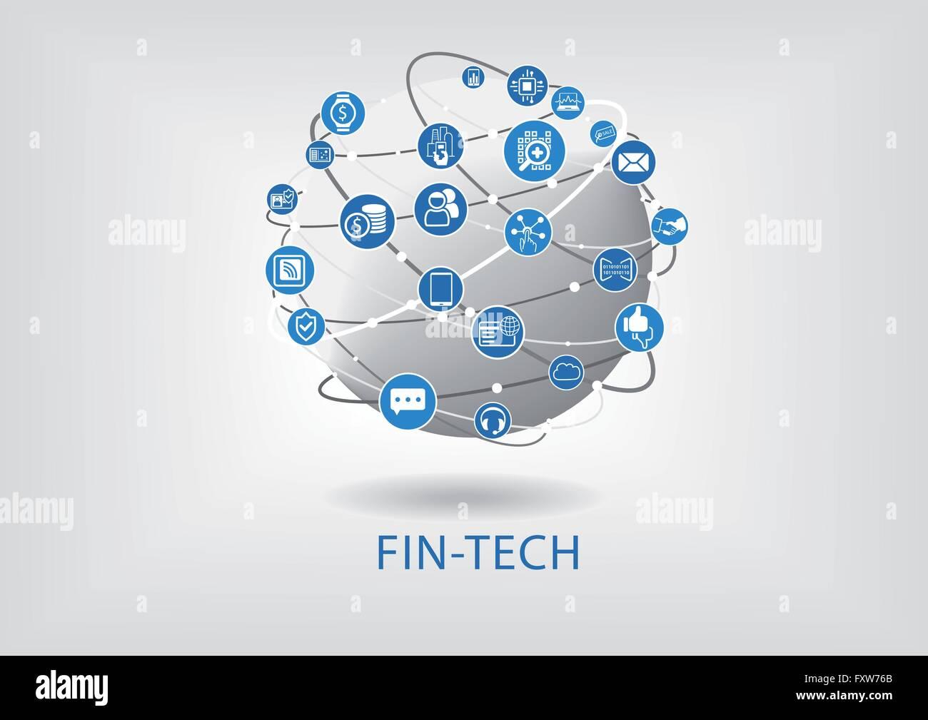 FIN-Tech (Finanztechnologie) Vektor Infografik und Hintergrund Stockbild
