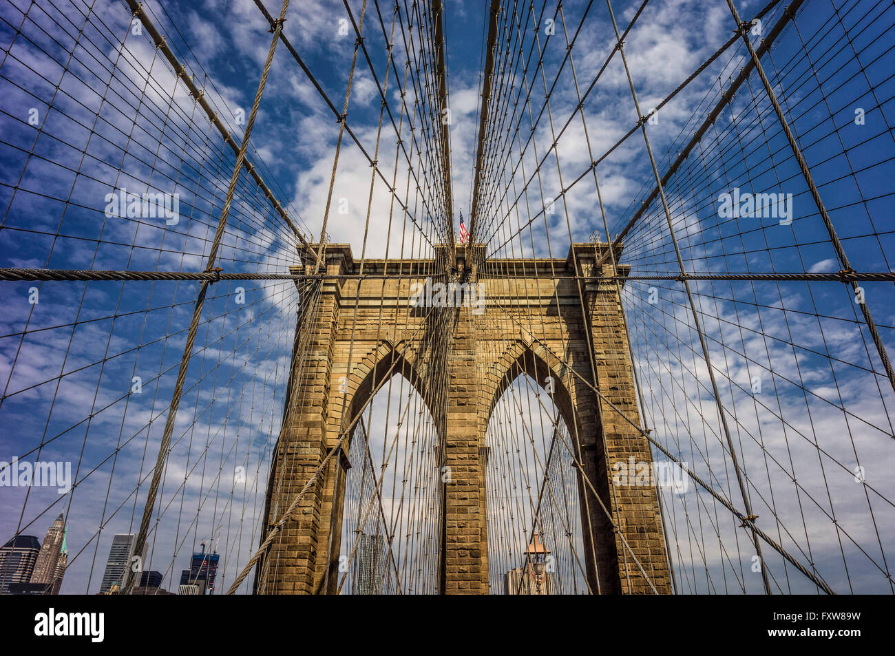 Brooklynbridge, New York, USA Stockbild