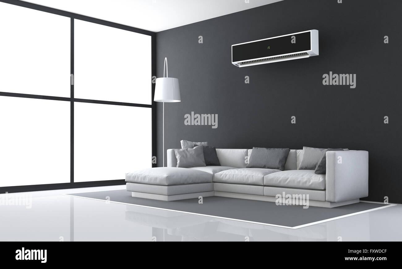 Minimalistische schwarz-weiß Wohnzimmer mit Sofa und Klimaanlage ...