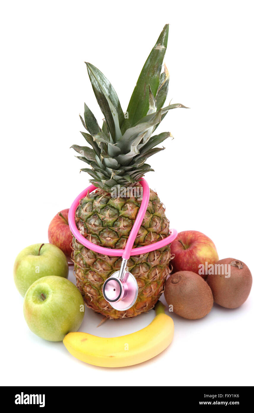 Verzehr von Obst verhindert Krankheiten Stockbild