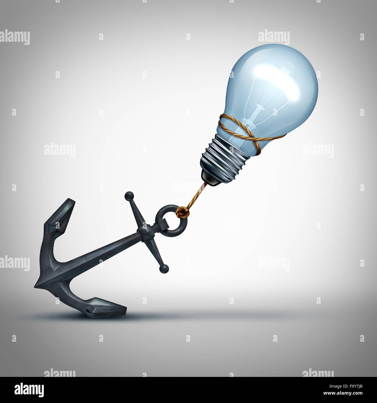 Idee Mühe Konzept als eine Glühbirne ziehen einen schweren Anker als kreative Kampf und Problem-Metapher Stockbild