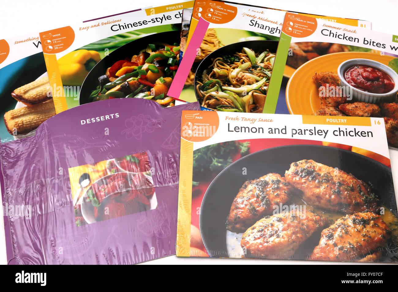 Rezepte für Hauptgerichte und Desserts für Pfanne oder Wok Stockbild