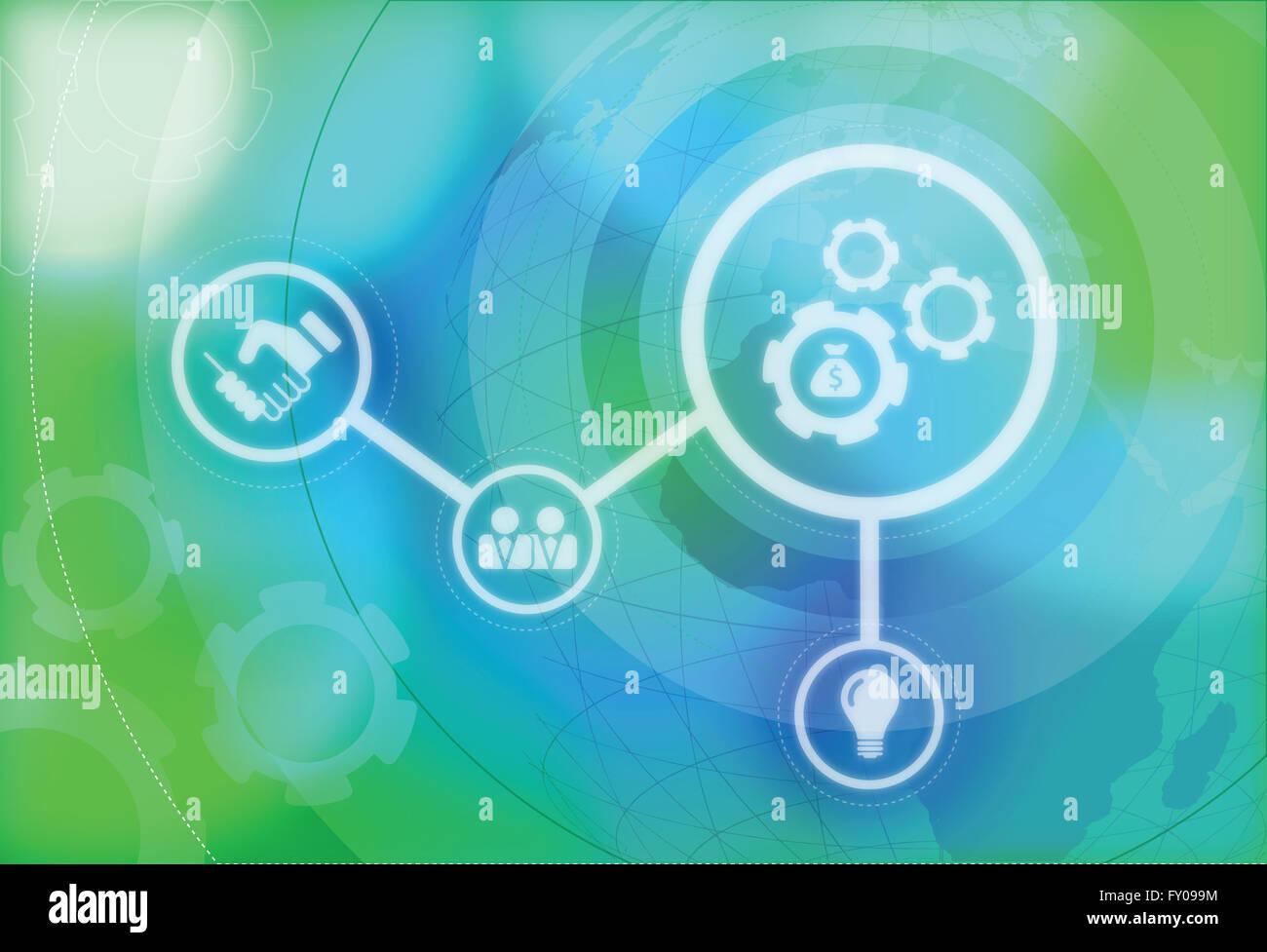 Anschauliches Bild der Business Mechanik, Politik und Wirtschaft zusammenführen Stockbild