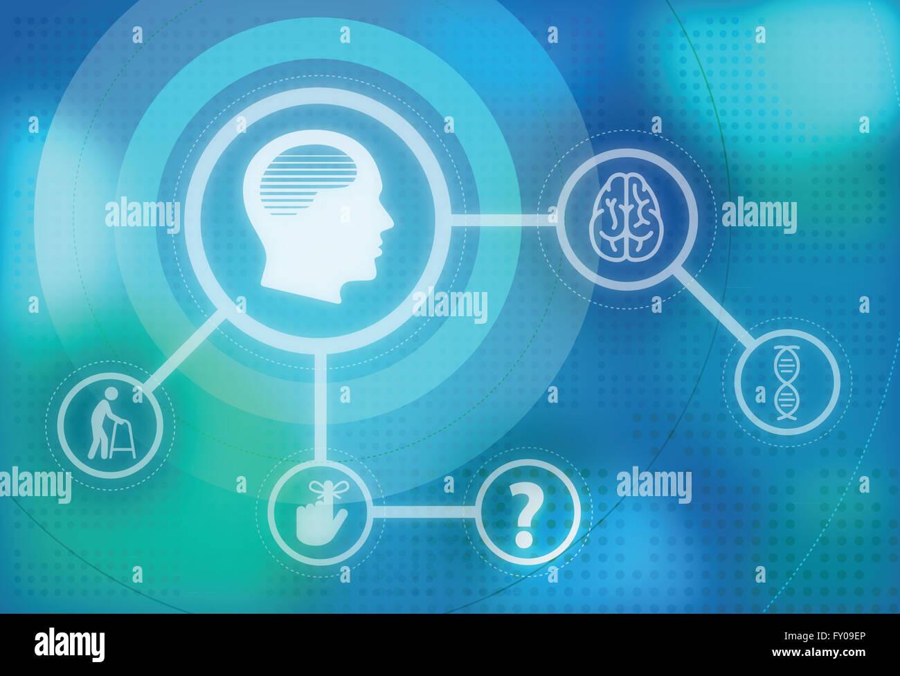 Anschauliches Bild der Alzheimer-Krankheit und ihre Auswirkungen Stockfoto