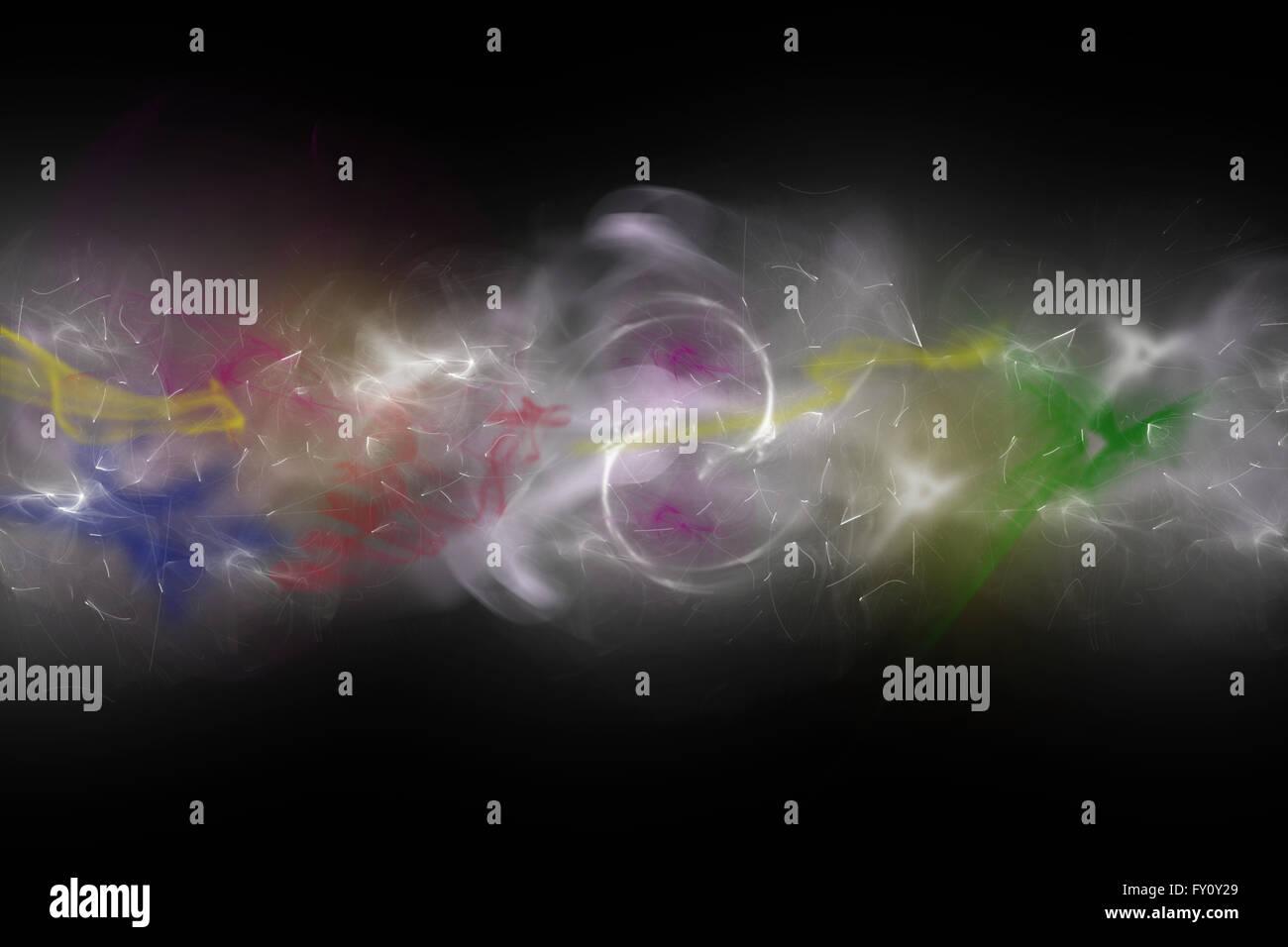 Hintergrund bestehend aus farbigen Rauch unkonzentriert und Lichter auf dem schwarzen Hintergrund. Stockbild