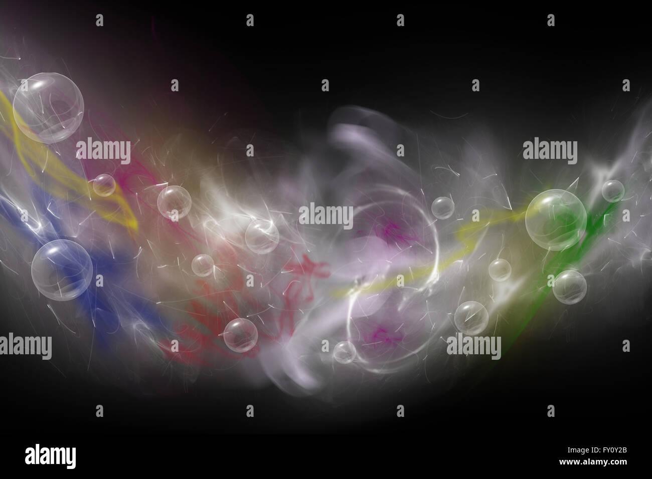 Abstrakt setzt sich aus farbigen unkonzentriert Rauch, Licht und Objekten auf dem schwarzen Hintergrund. Stockbild