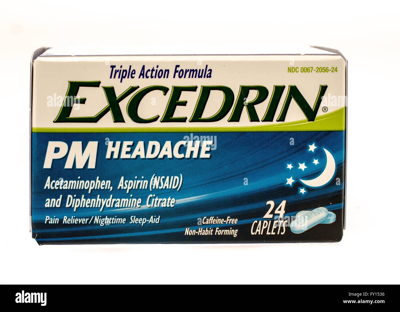 Winneconne, Wisconsin-1 Okt 2015: Box Excedrin PM Kopfschmerzen Medizin. Stockbild