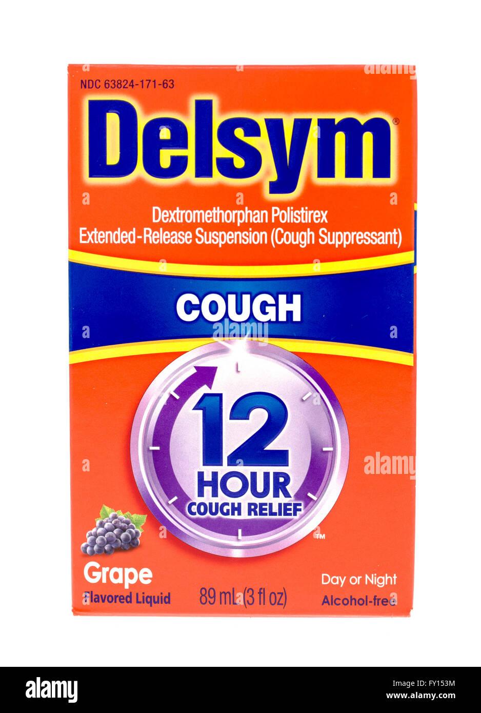 Winneconne, Wisconsin -15 Okt. 2015: Box Delsym Husten Suppressant Medizin. Stockbild