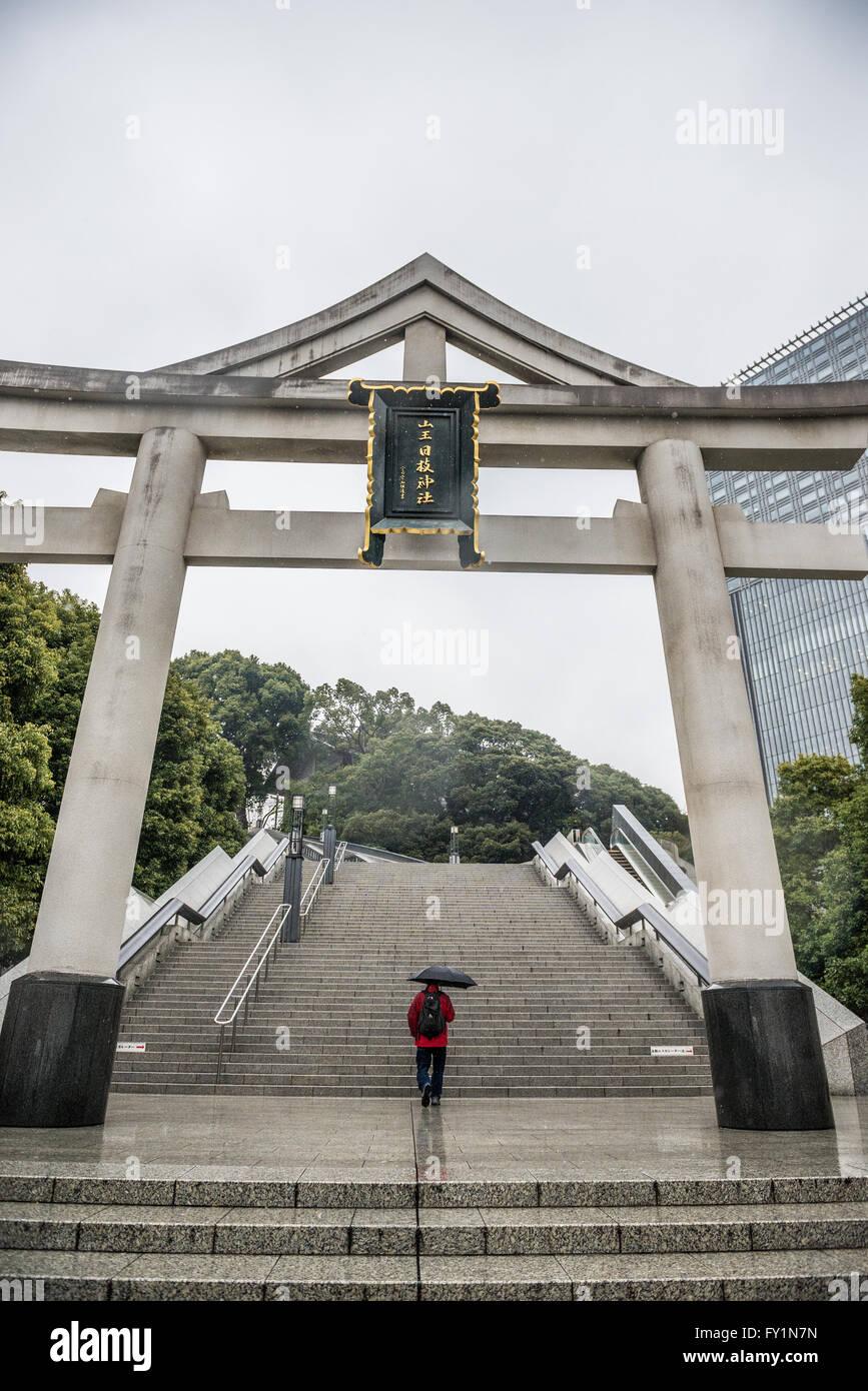 Sanno Torii-Tor in Hie Shinto-Schrein in Nagatacho Bezirk Chiyoda tokubetsu von Tokio, Japan Stockbild