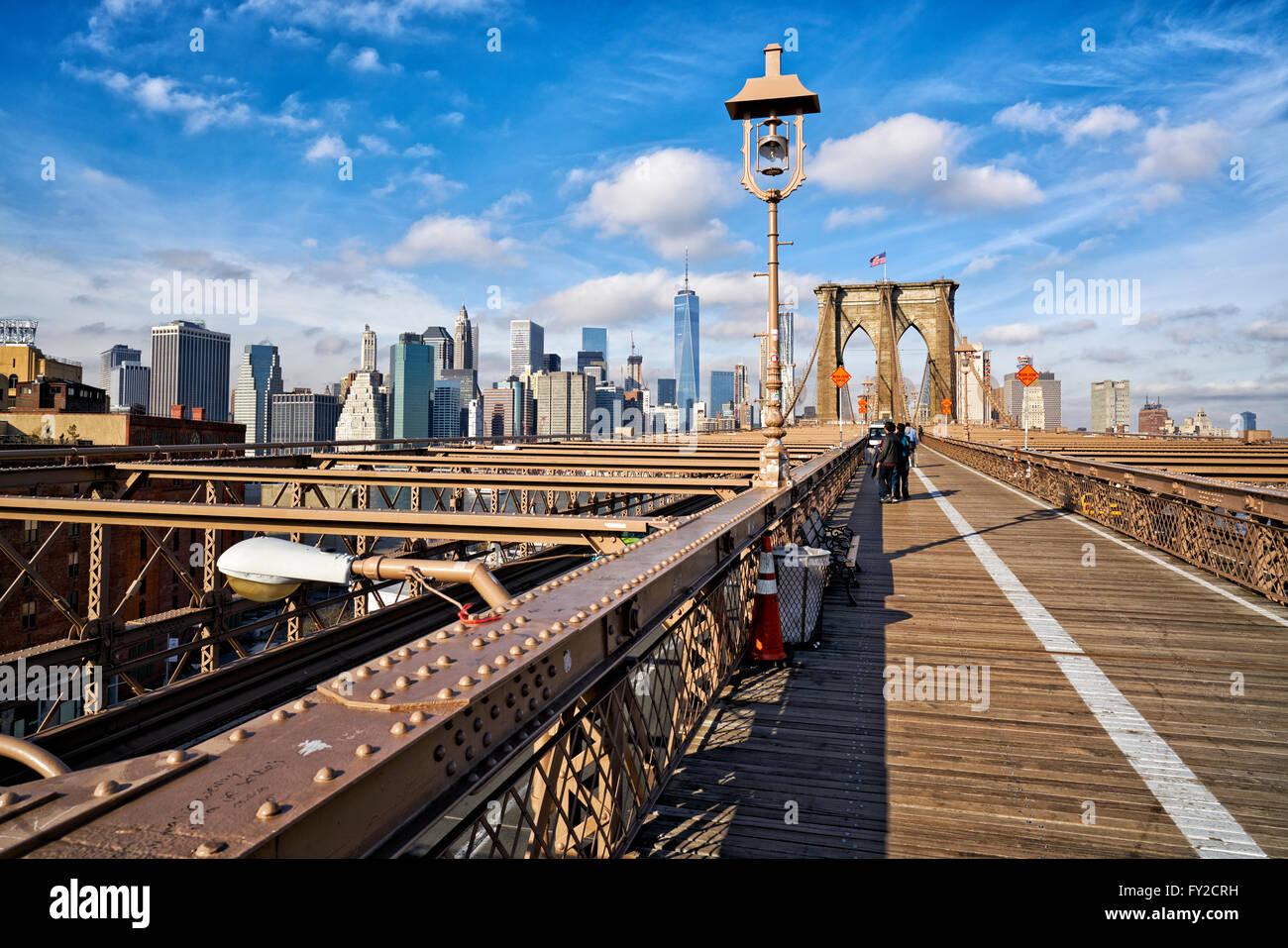 Brooklyn-Fußgängerbrücke. New York Stockbild