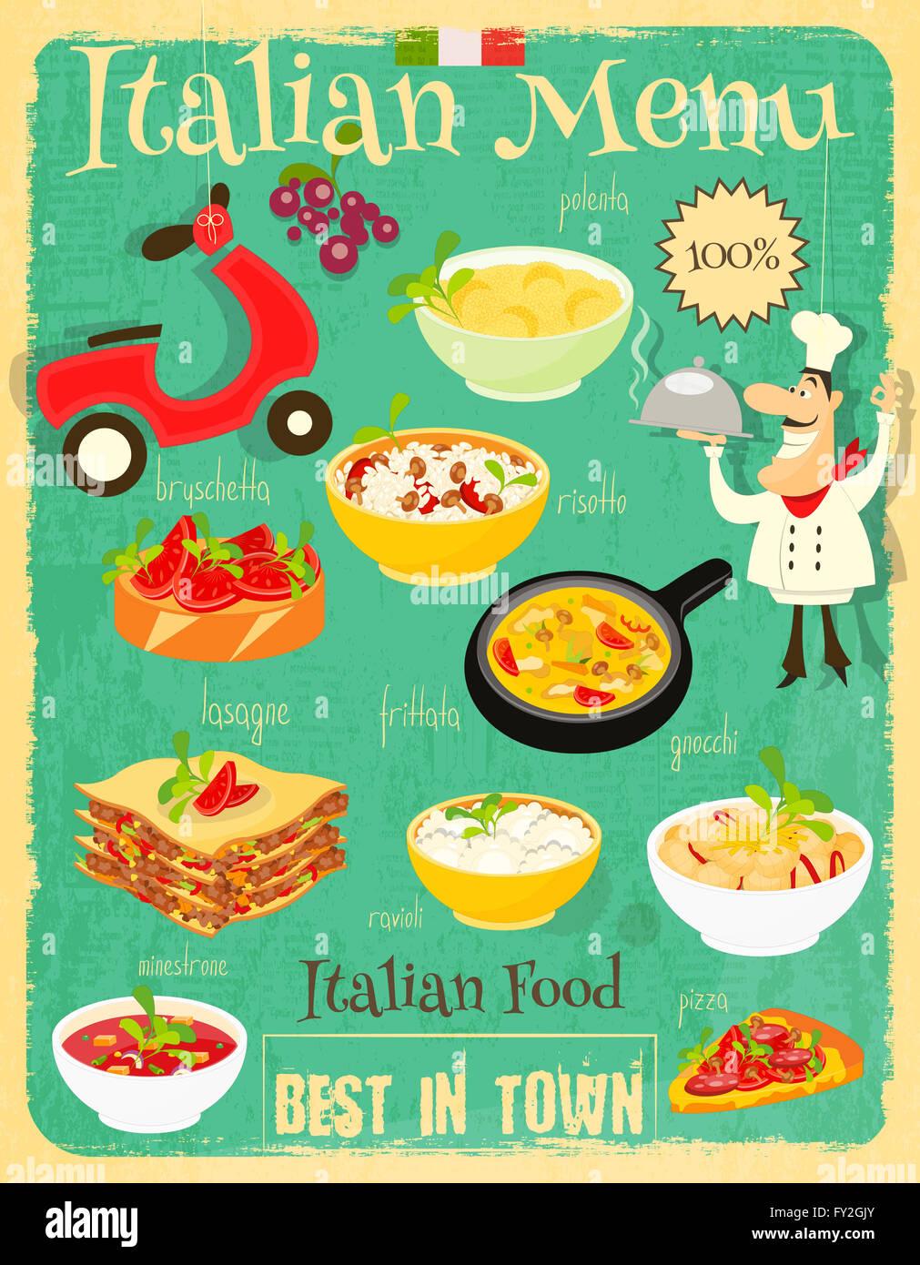 Set Menu Salad Pasta Illustration Stockfotos & Set Menu Salad Pasta ...
