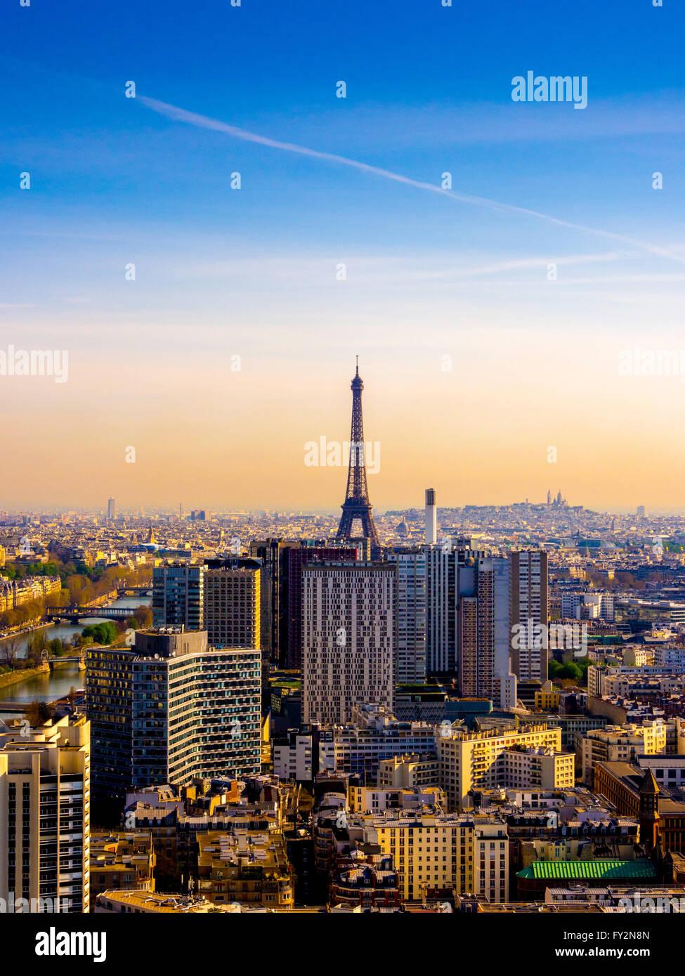 Eiffelturm, Paris, Frankreich, am frühen Morgen. Stockbild