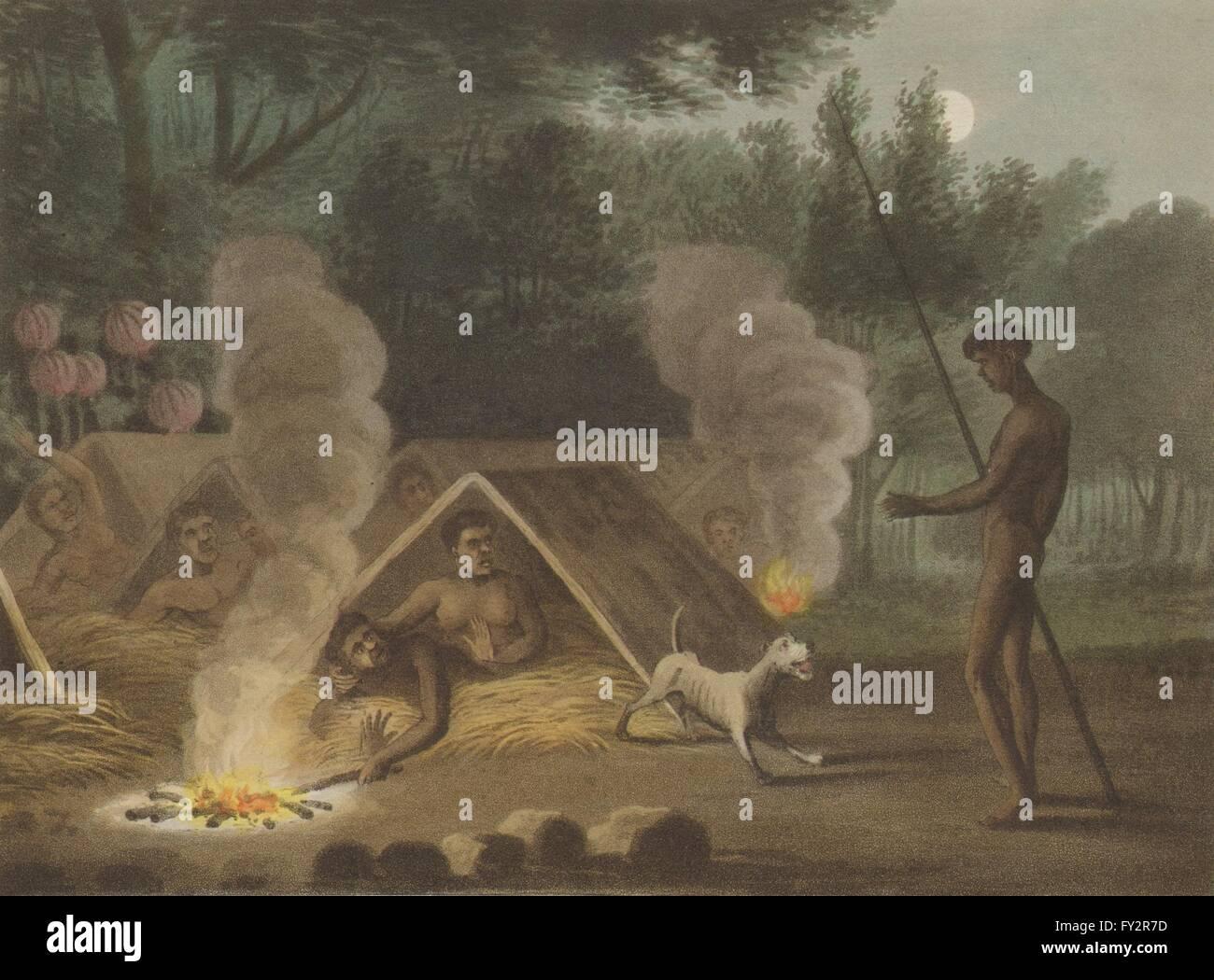 Australien-ABORIGINES: Ruhe Erholung Entspannung. Hütten. Hund. NSW ...
