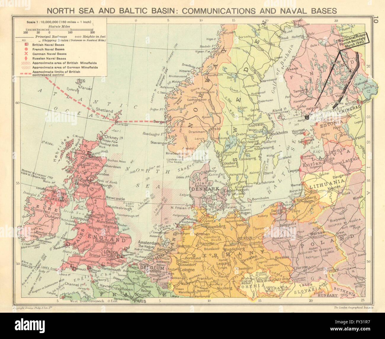 Karte Ostseeküste Polen.Zweiter Weltkrieg Nordsee Ostsee Minenfelder Marinestützpunkte