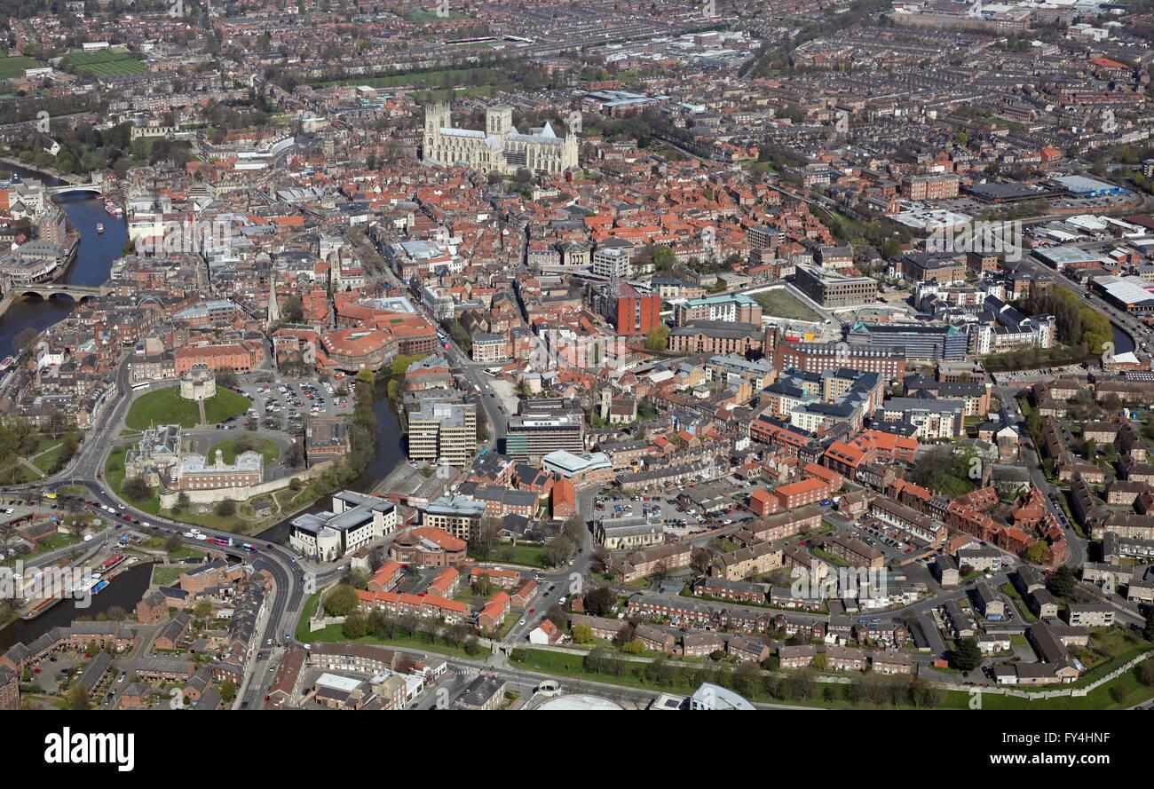 Luftaufnahme von York Stadtzentrum, Yorkshire UK Stockbild