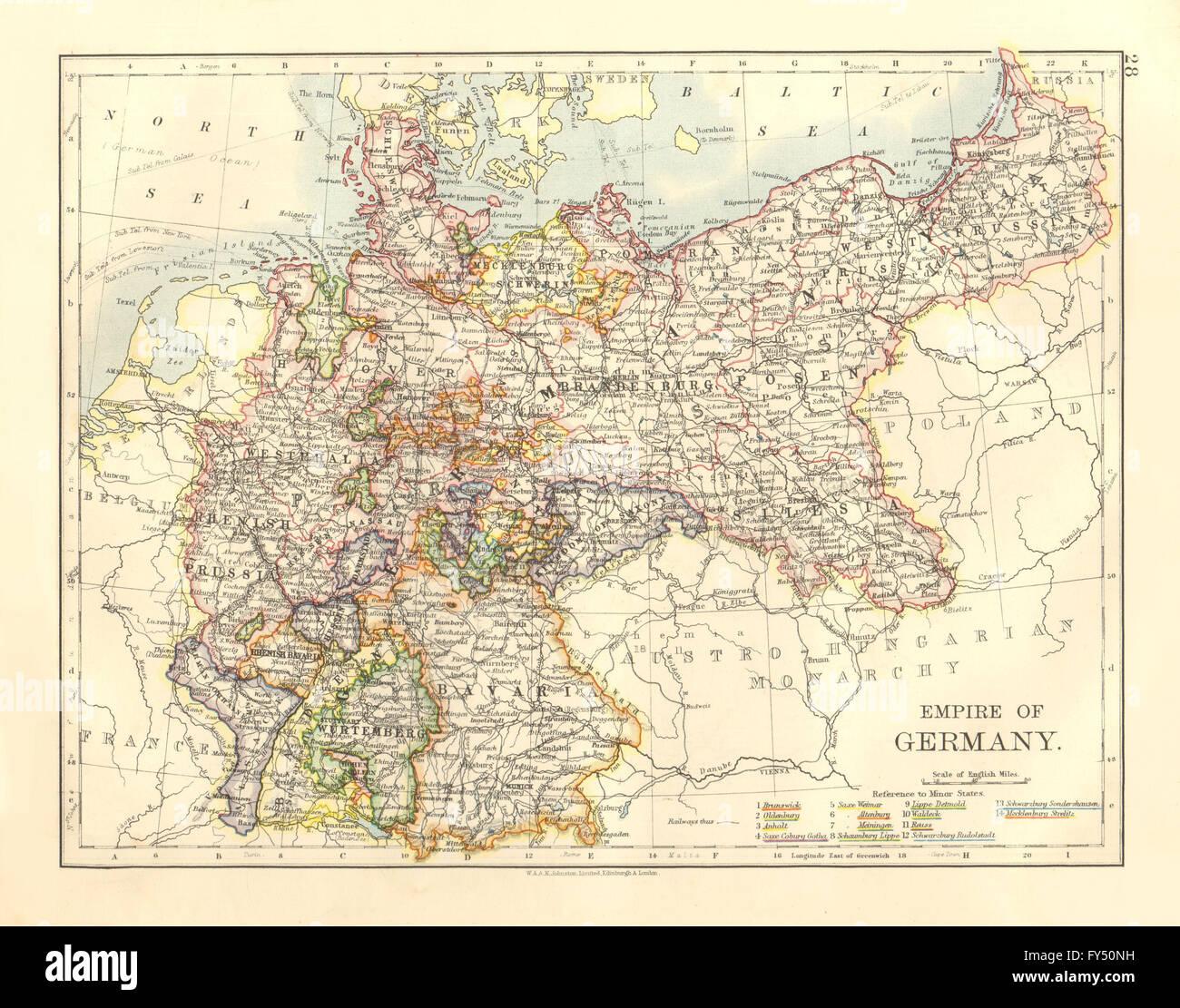 Elsass Auf Karte.Reich Von Deutschland Staaten Preussen Bayern Elsass Lothringen