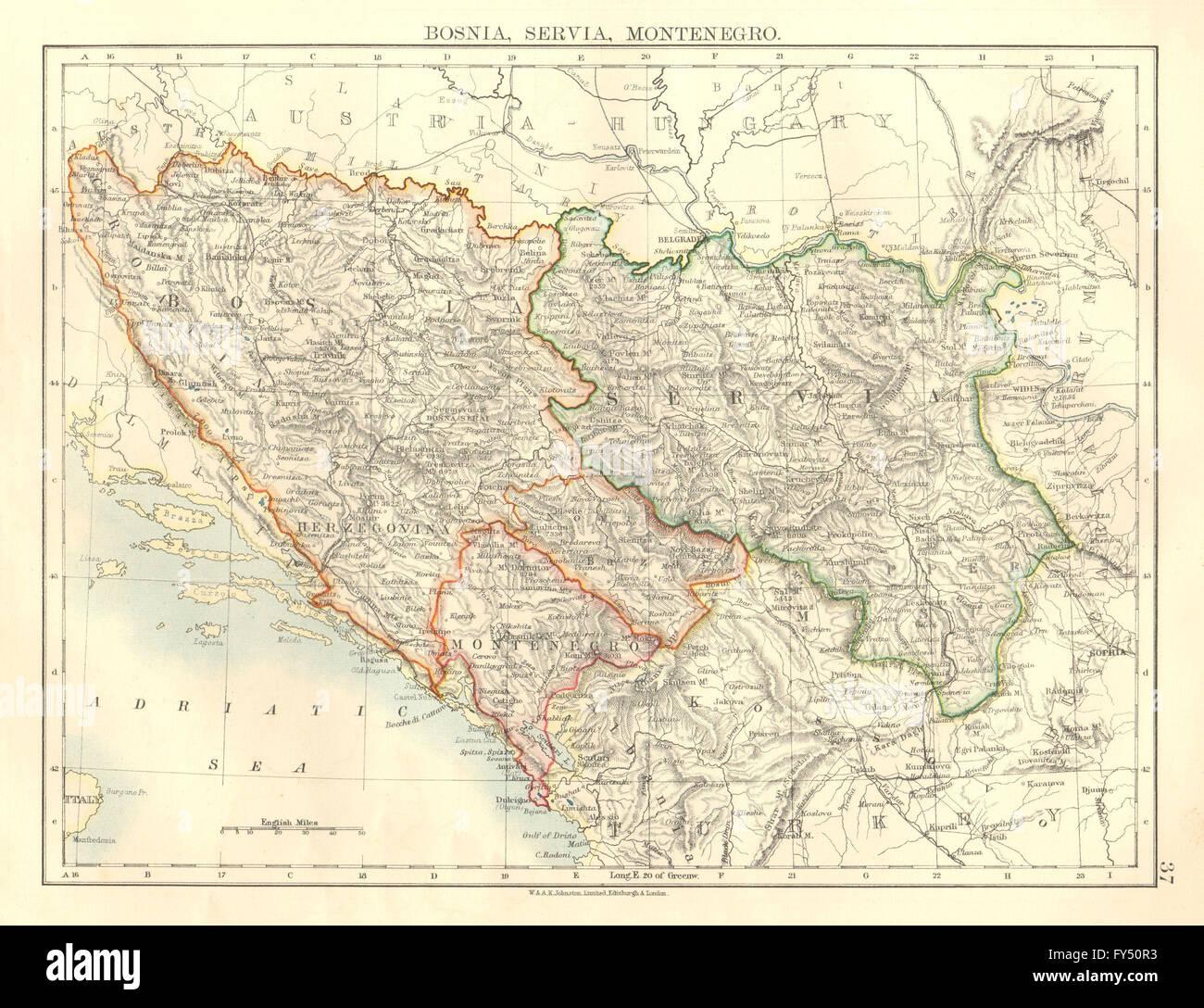 Karte Montenegro Kroatien.Bosnien Serbien Montenegro Balkan Serbien Kroatien