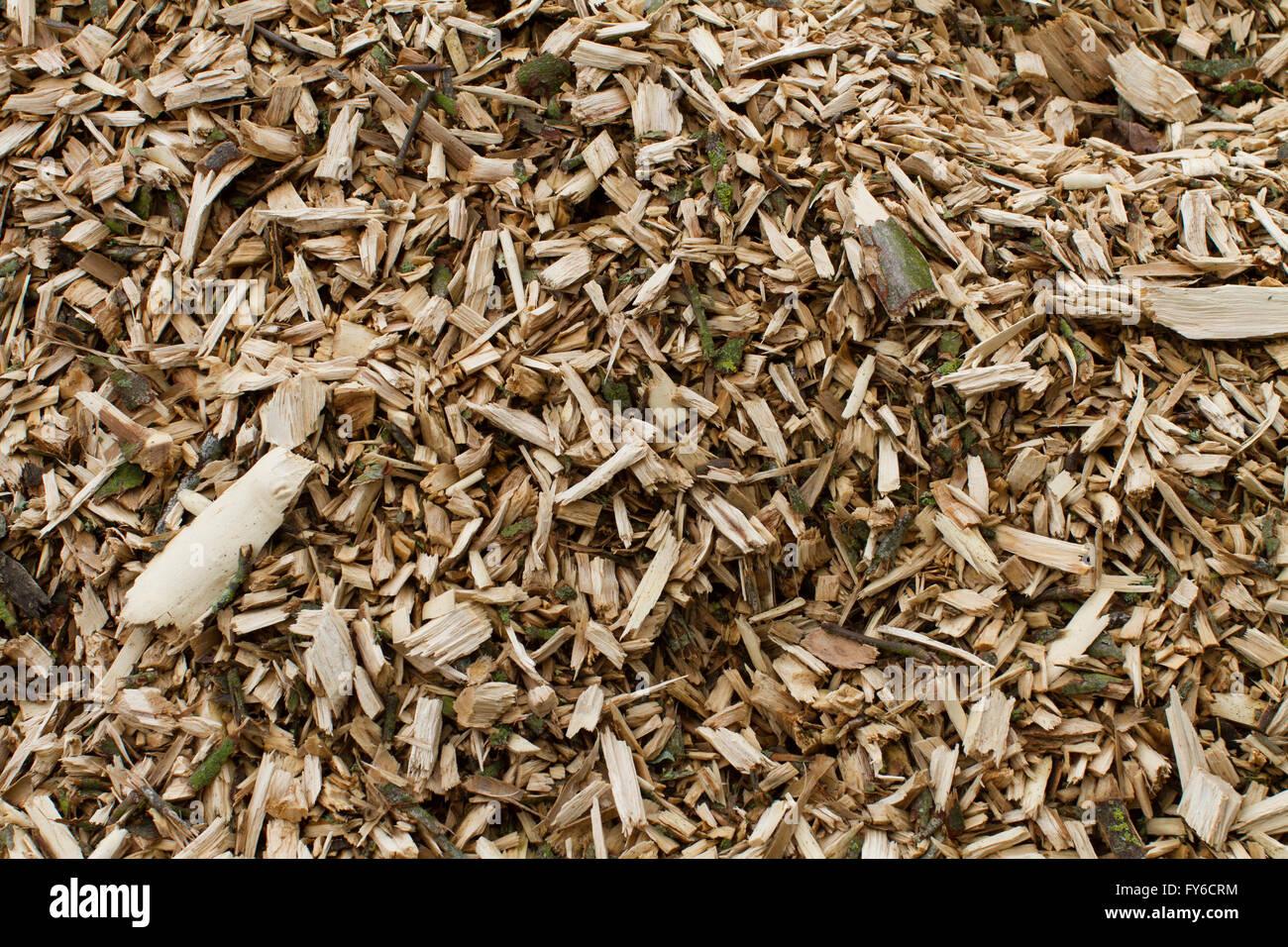 Nahaufnahme Von Holzspänen Und Rinde Als Mulch Auf Einem Garten