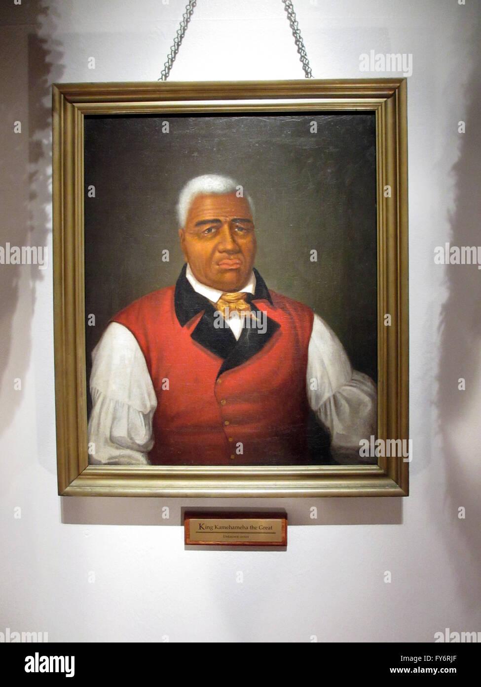 King Kamehameha das große zum ersten König des geeinten Hawaii, Malerei - unbekannter Künstler aus dem frühen 19. Jahrhundert. Stockfoto