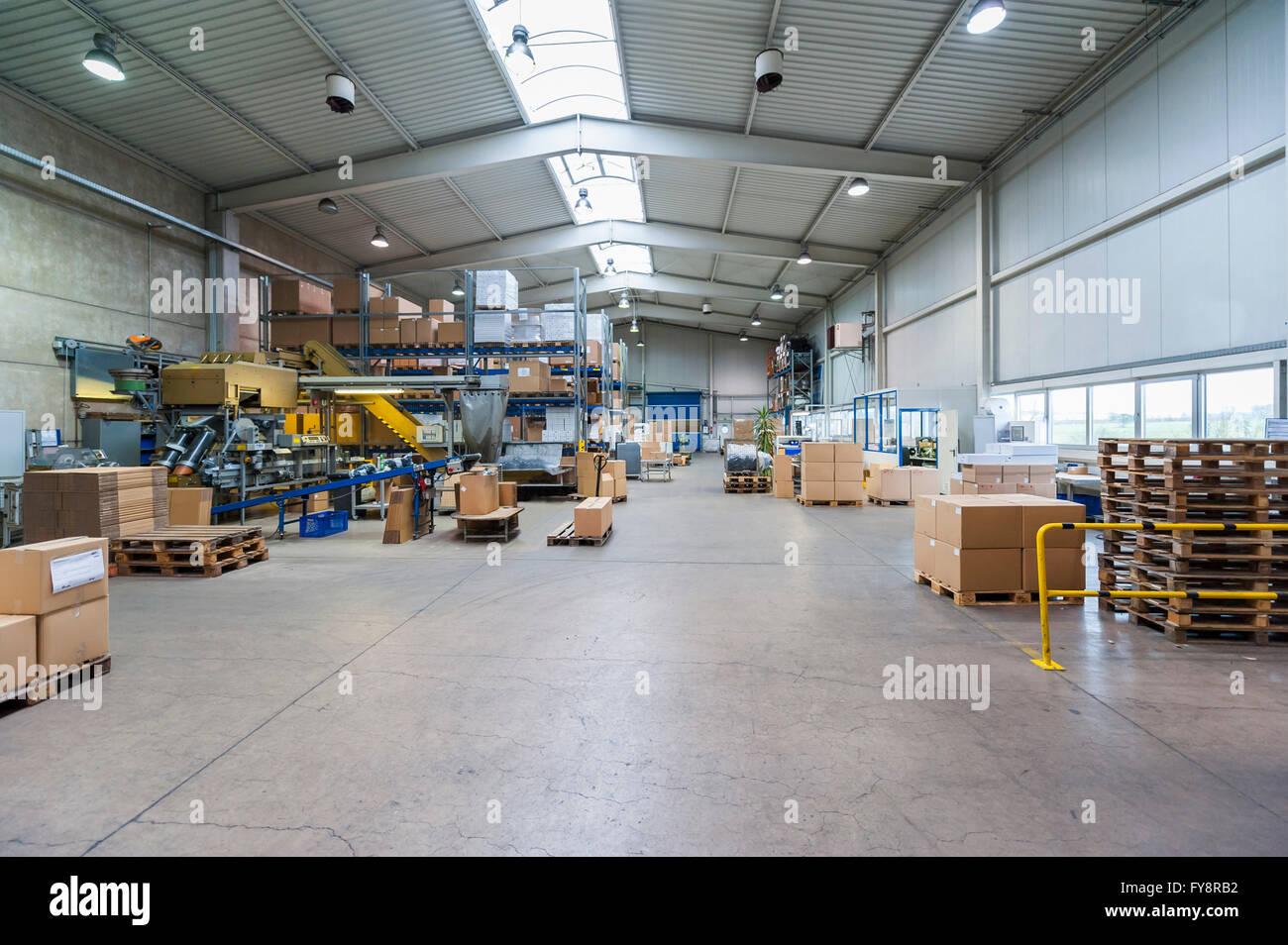 Leere Industriehalle Mit Gespeicherten Pakete Paletten Und