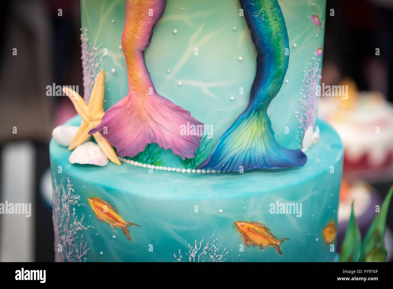 Meerjungfrau Schwanzen Paar Essbare Dekoration Auf Kuchen