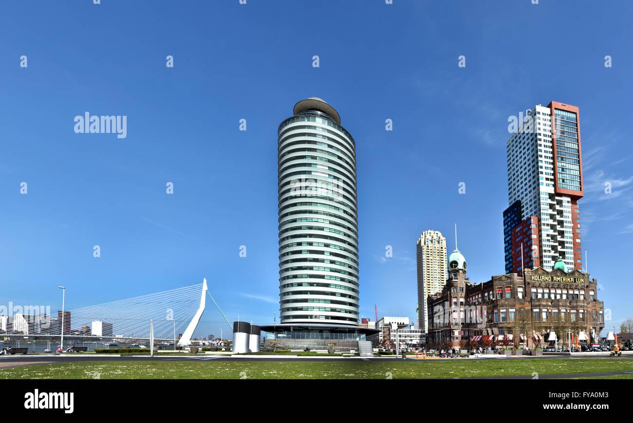 World Port Center (Kop van Zuid) Montevideo Hotel New York Rotterdam Niederlande Niederländisch (neue Maas Stockbild