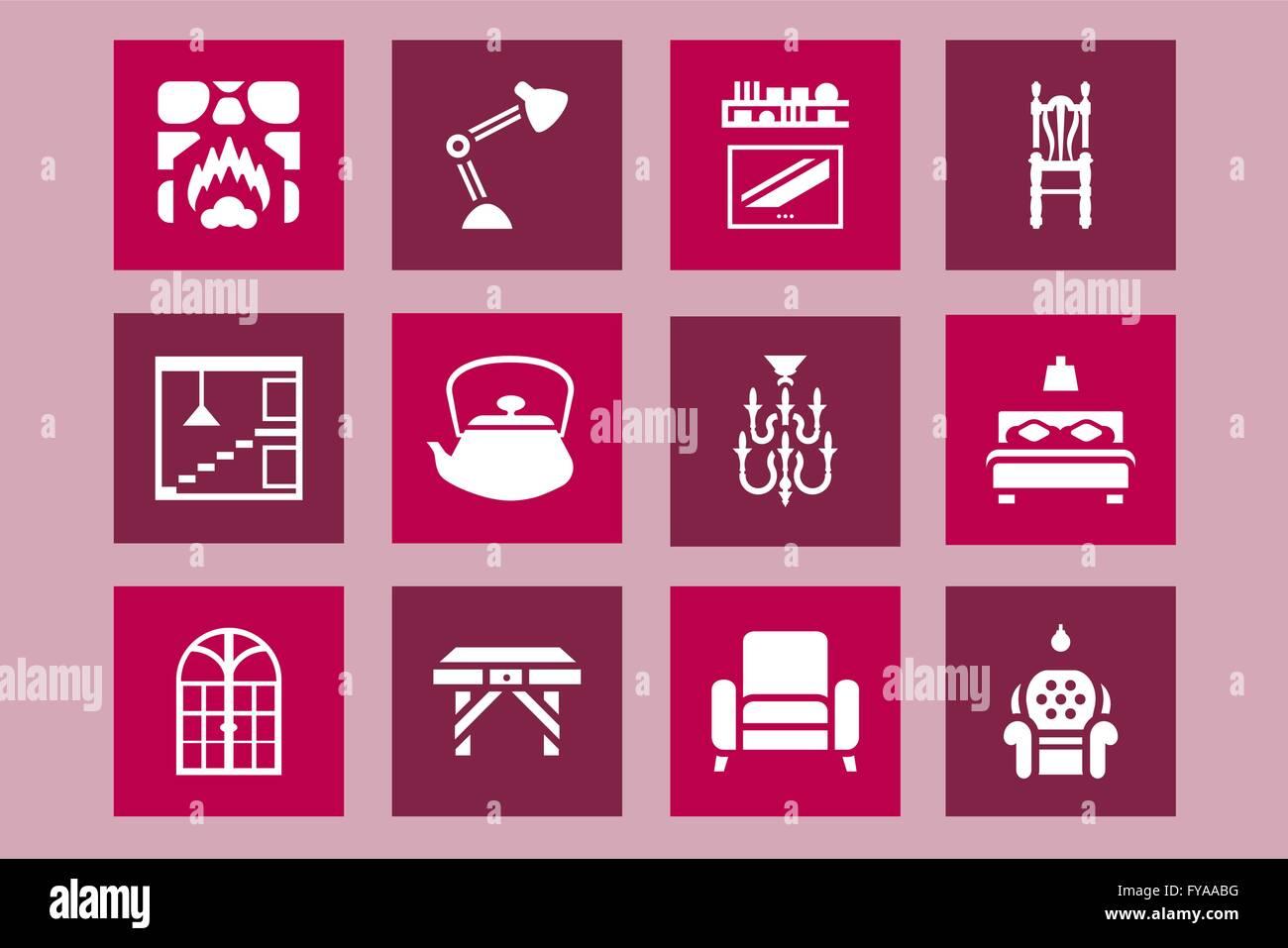 Möblierung, Haus Und Dekoration Icon Design Gesetzt. Vektor Grafik Design  Möbel