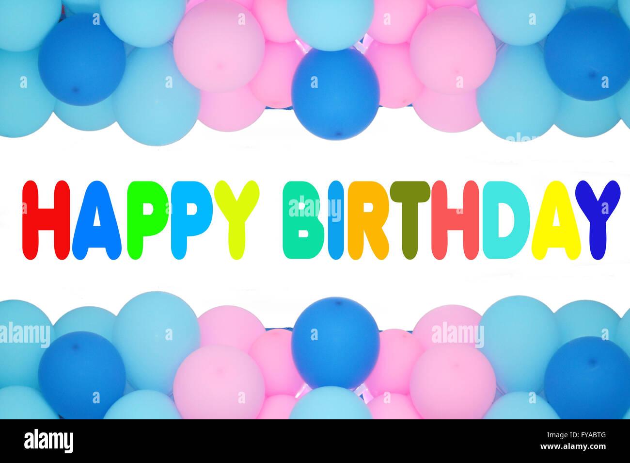 alles Gute zum Geburtstag Text mit Ballons Rahmen Stockfoto, Bild ...