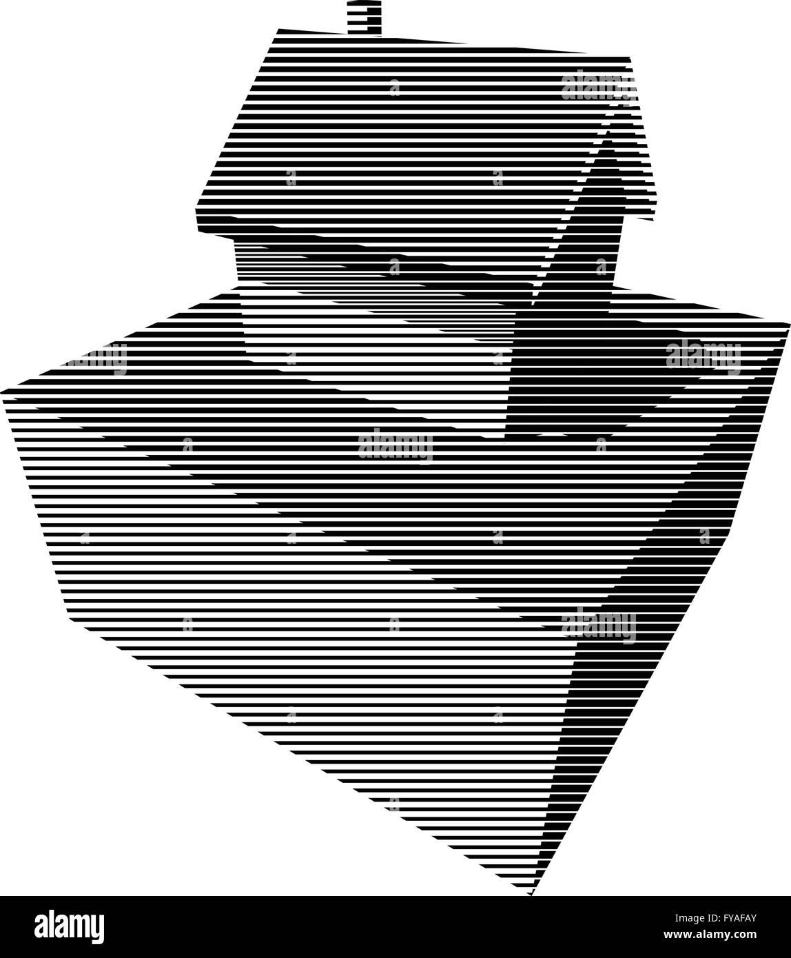 Schwarz / weiß grafische Diagramm in Form eines Einfamilienhauses ...