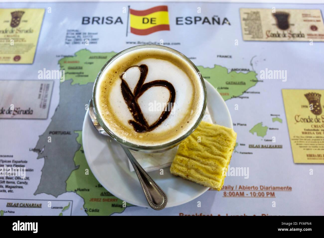 Miami Florida Doral Brisa de Espana spanischen Restaurant im Inneren trinken Cafe bonbon Espresso Kaffee Tasse Stockbild